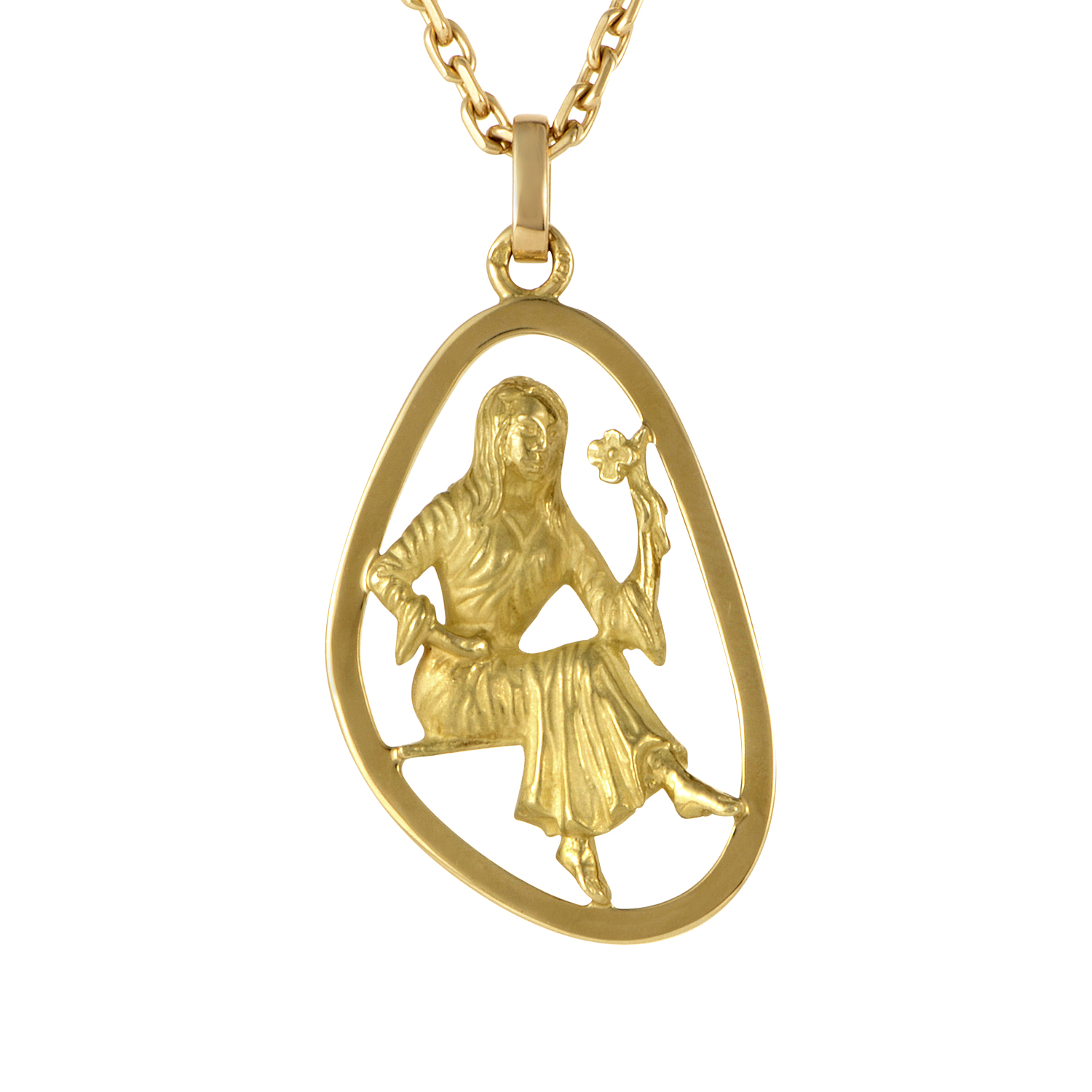 Boucheron 18K Yellow Gold Virgo Pendant Necklace