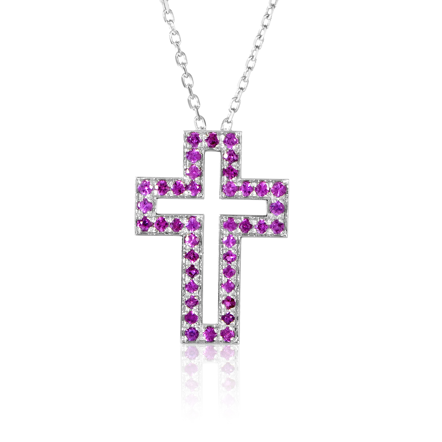 Boucheron 18K White Gold Ruby Cross Pendant Necklace