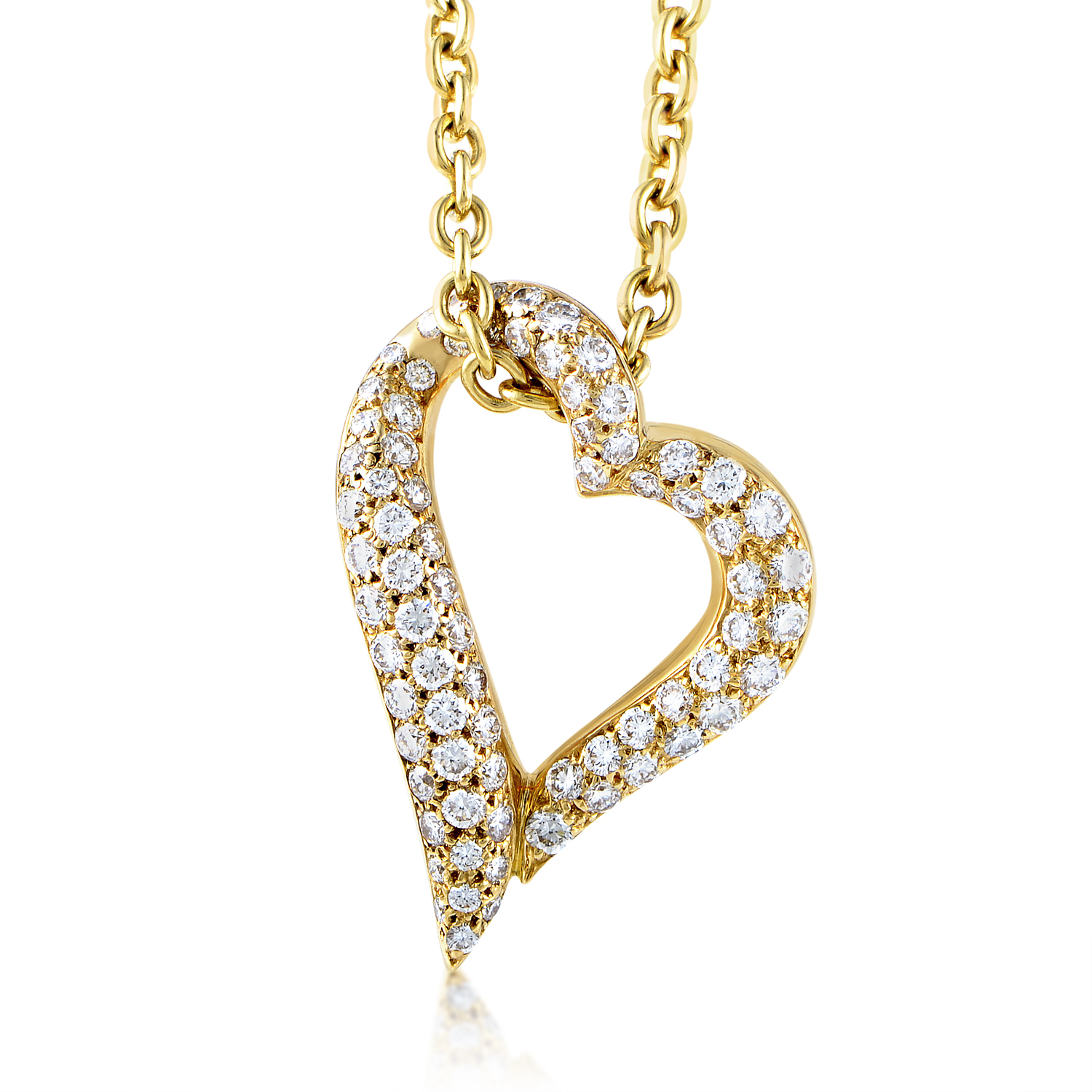 Boucheron 18K Yellow Gold Diamond Heart Pendant Necklace AK1B2415