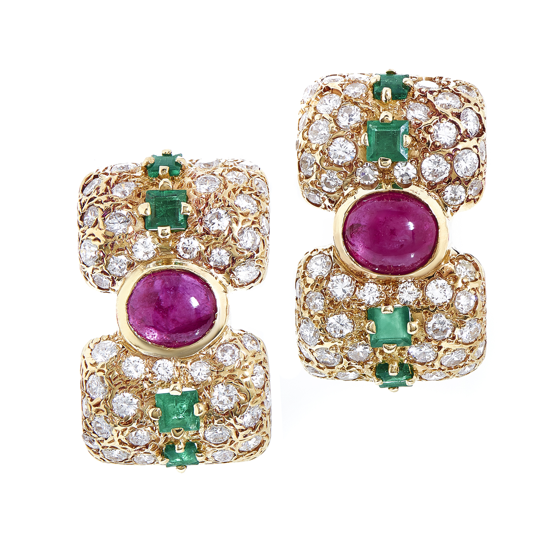 Women's 18K Yellow Gold Precious Gemstone Huggie Earrings BR0107068AB