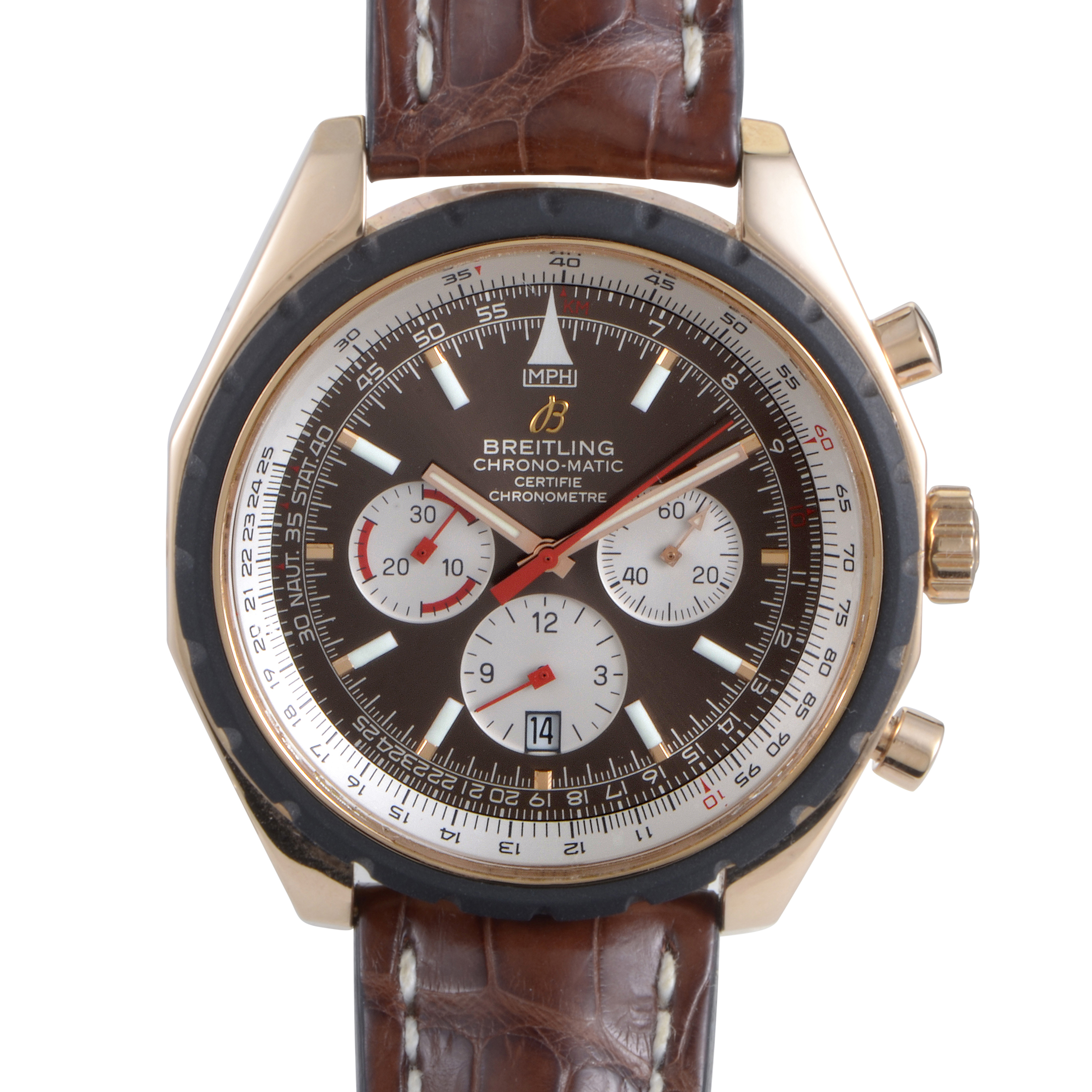 Breitling chrono matic 49 men 39 s automatic chronograph watch r1436002 q557 for Breitling automatic