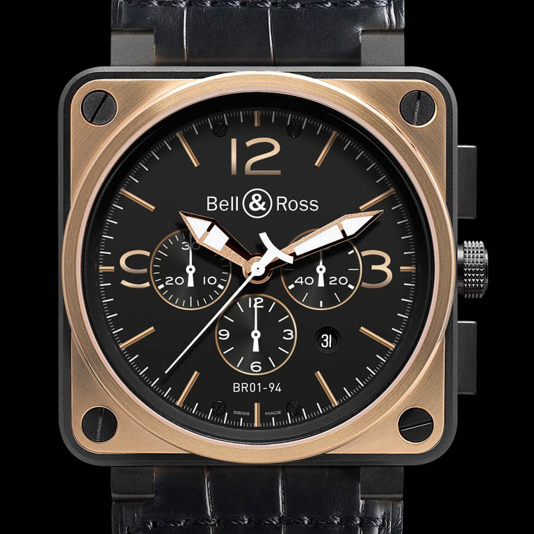 BR01-94 Chronograph Rose Gold & Carbon Officer