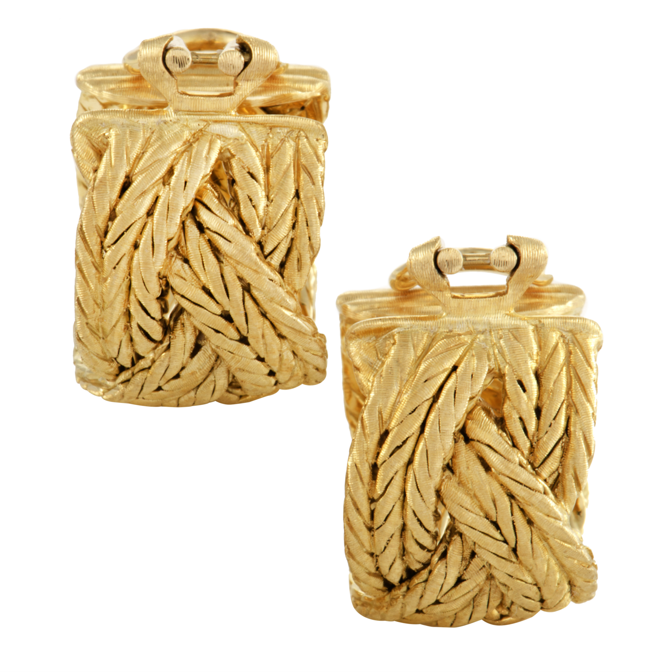 Womens Braided 18K Yellow Gold Clip-on Earrings