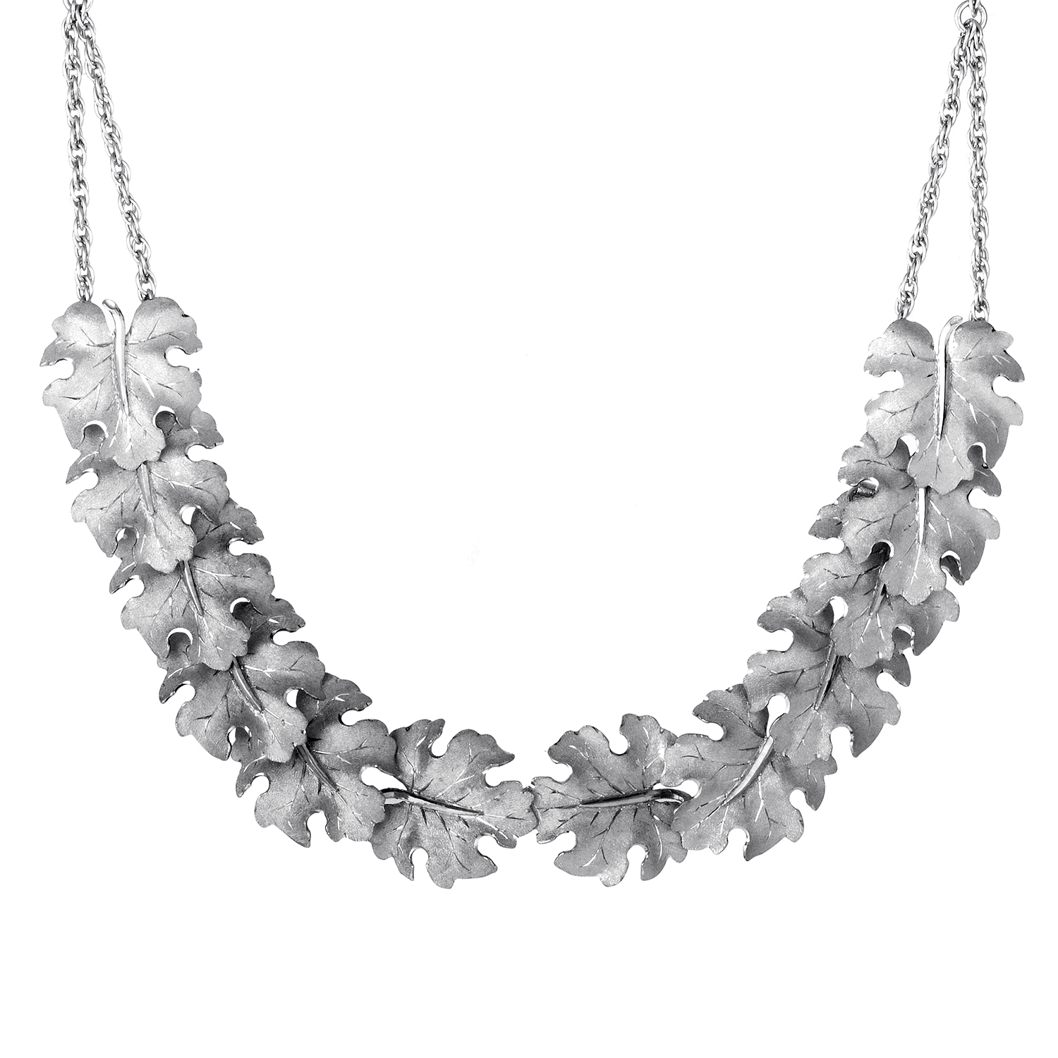 Foglie Acanto 18K White Gold Necklace