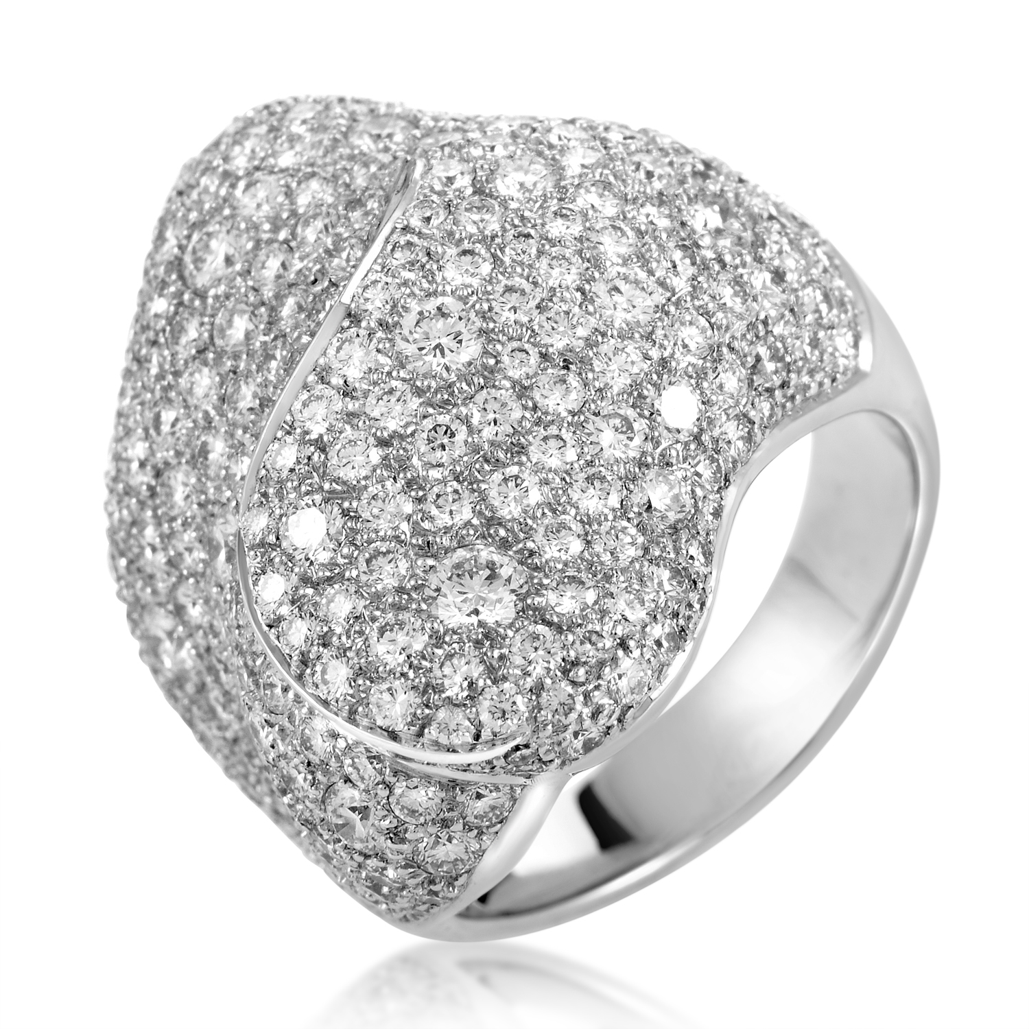 Women's 18K White Gold Brilliant Cut Diamond Pave Ring