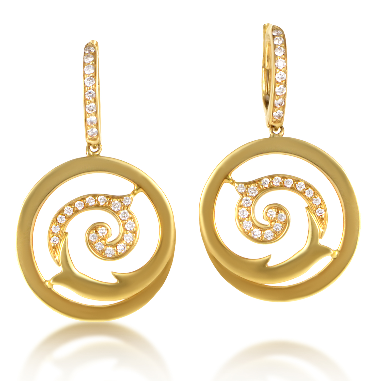 18K Yellow Gold Diamond Swirl Earrings