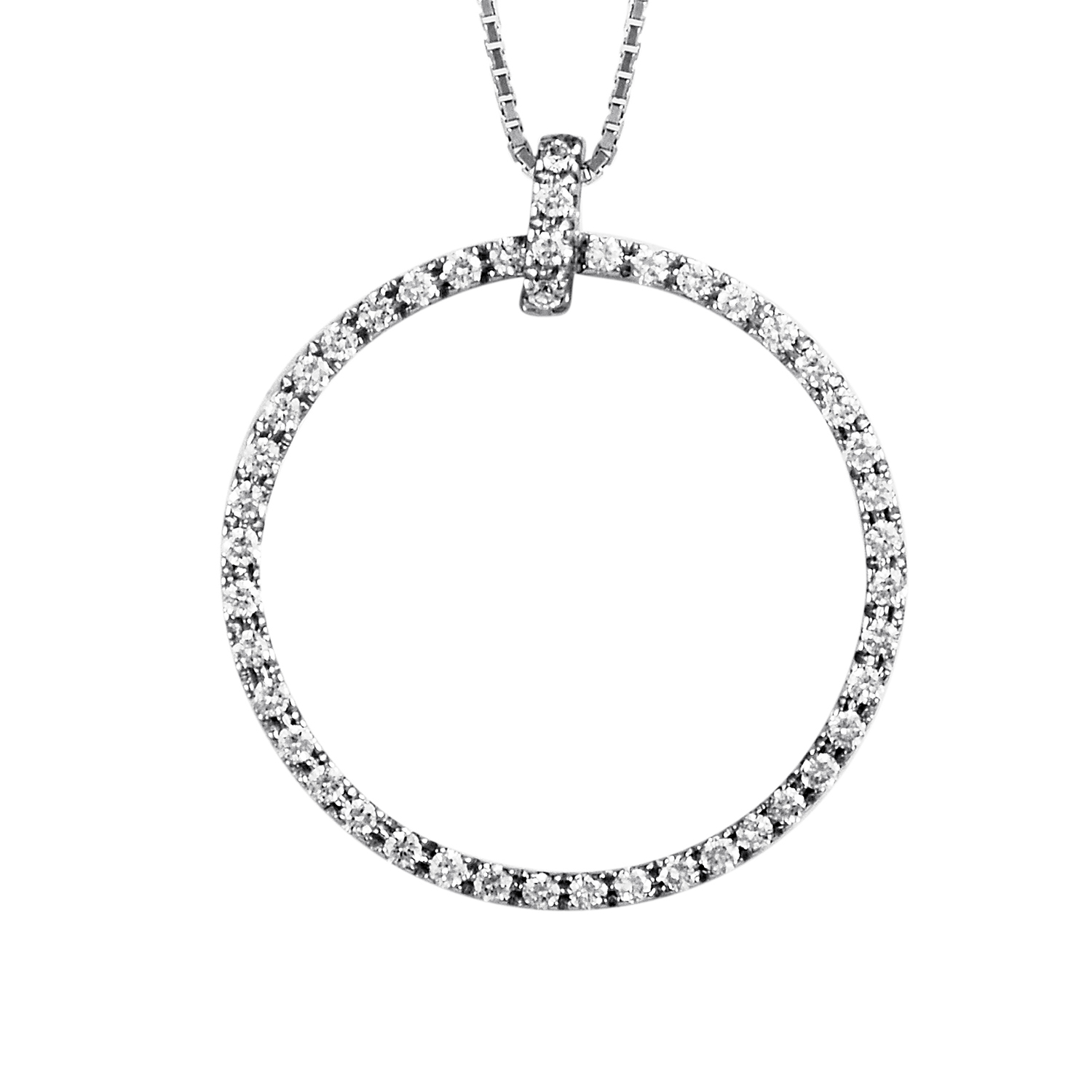 Women's 18K White Gold Diamond Infinity Pendant Necklace 0726-660-4