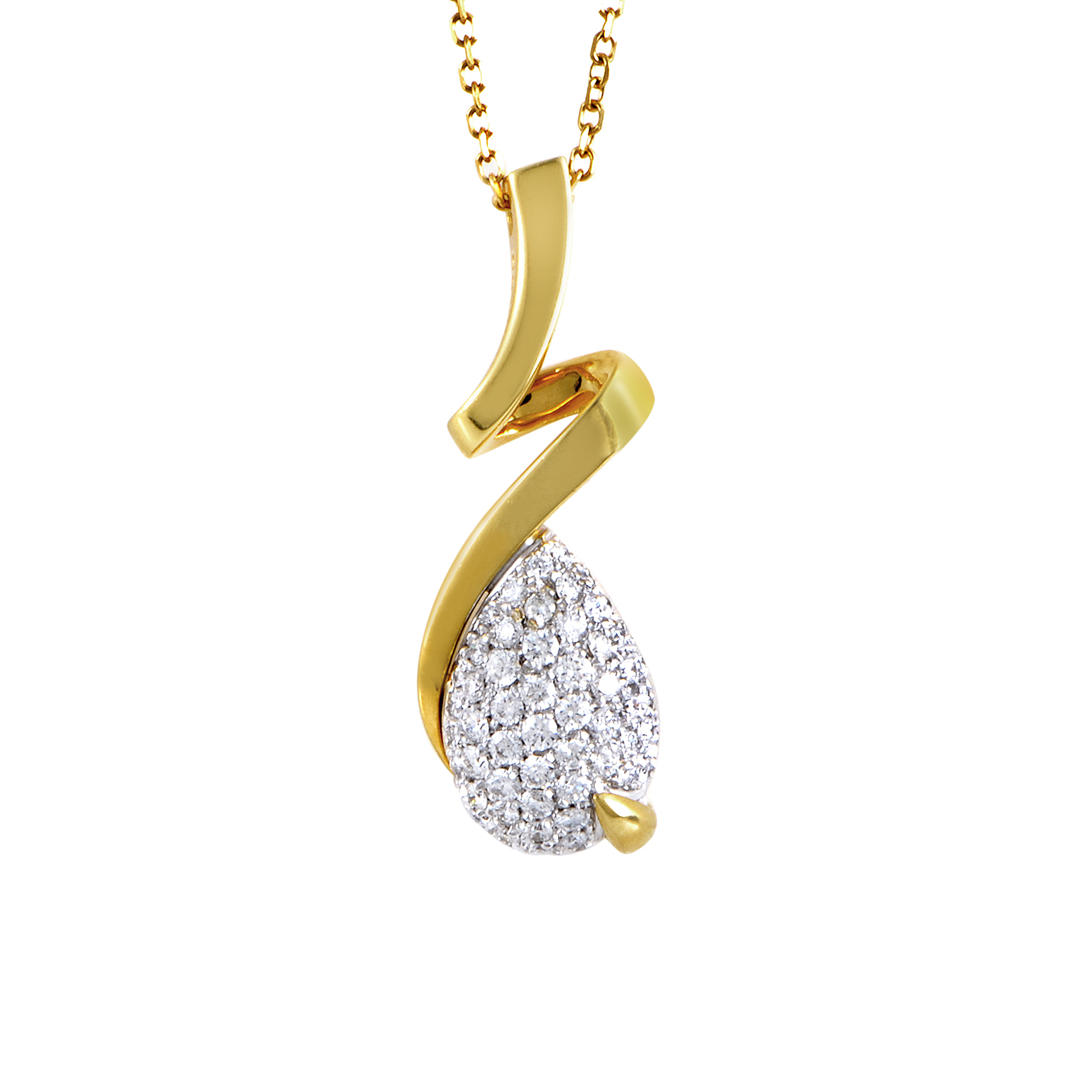 18K Multi-Tone Gold Diamond Pave Pendant Necklace 0727-826-2
