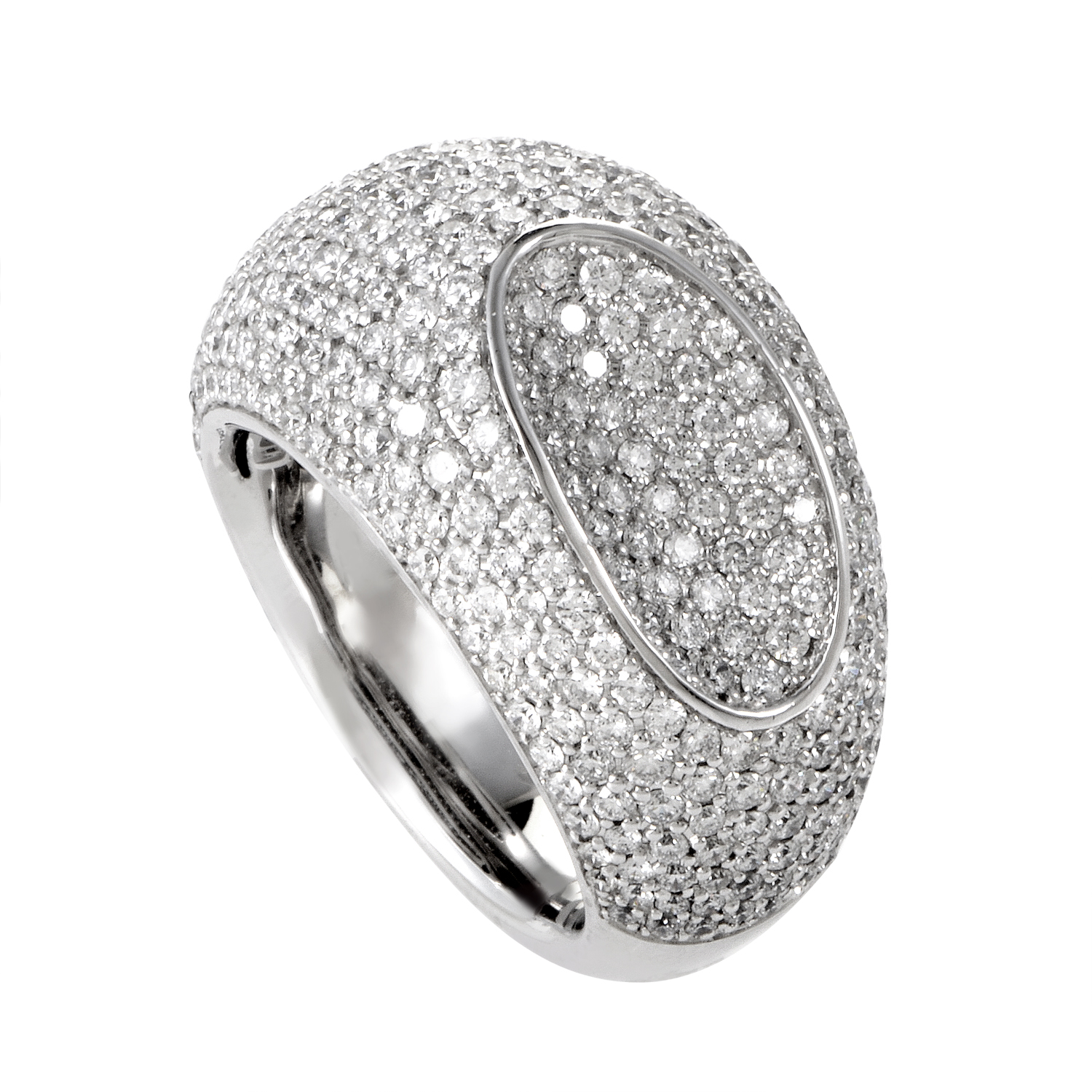 18K White Gold Diamond Pave Ring 1214-577-8