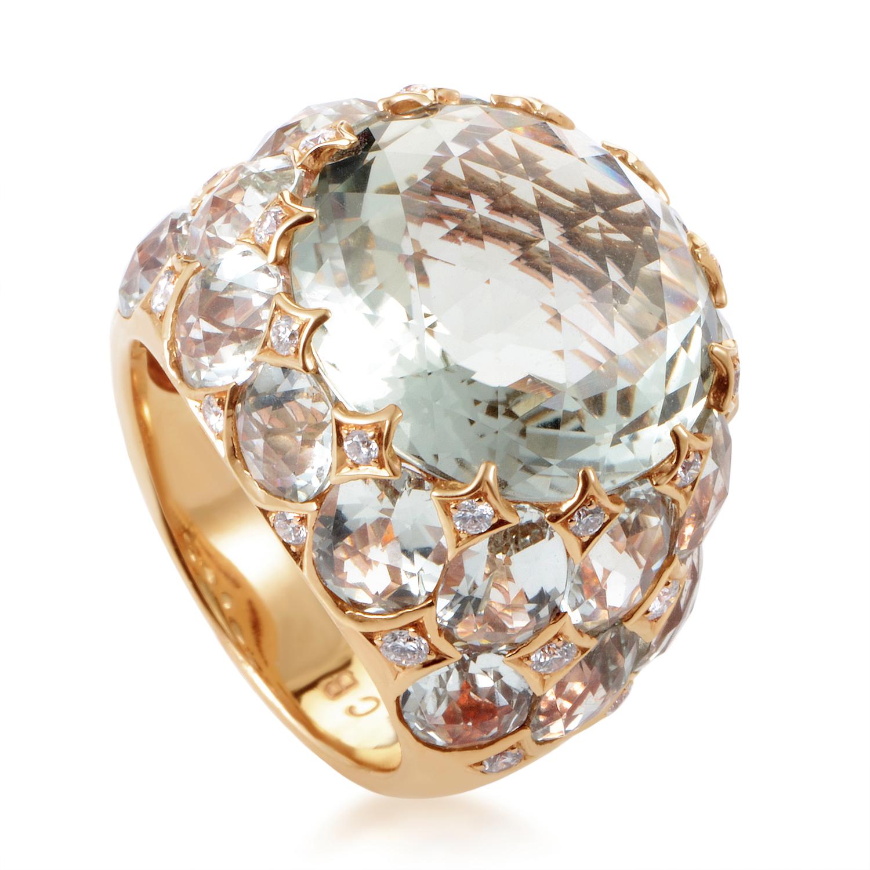 bucherer 18k rose gold green amethyst diamond ring ebay. Black Bedroom Furniture Sets. Home Design Ideas