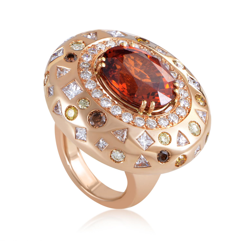 Women's 18K Rose Gold Spessartine & Diamond Cocktail Ring 1227-190-2