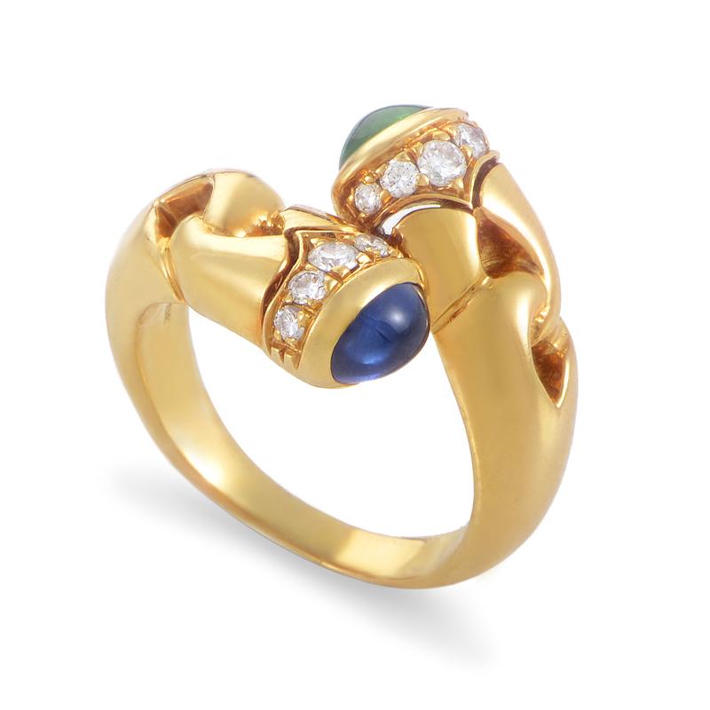 Bvlgari 18K Yellow Gold Precious Gemestone Bypass Ring