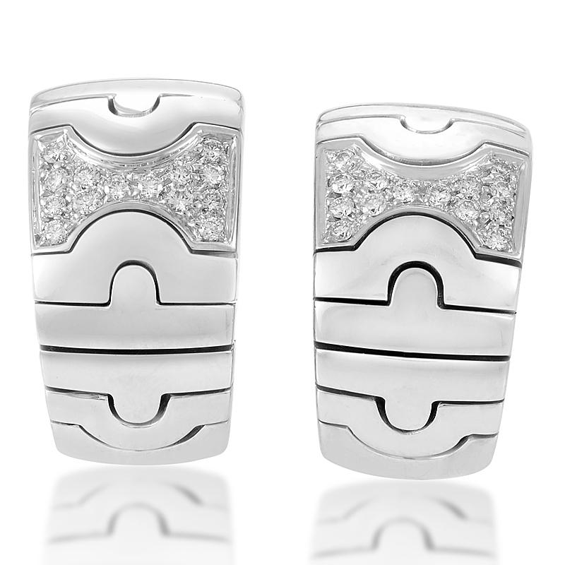 Bvlgari Parentesi 18K White Gold Diamond Huggie Earrings