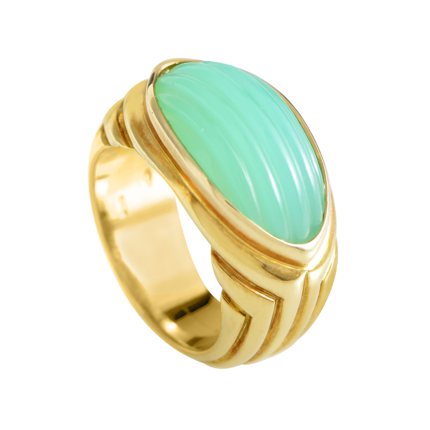 Bvlgari 18K Yellow Gold Chrysoprase Ring
