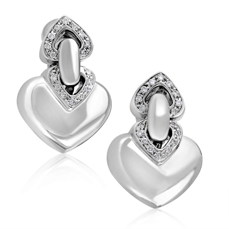 Bvlgari Coure 18K White Gold Diamond Heart Earrings