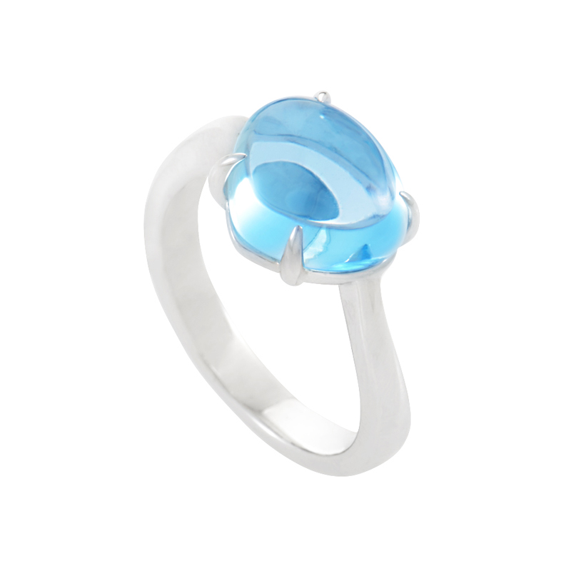 Sassi 18K White Gold Blue Topaz Ring AN854065