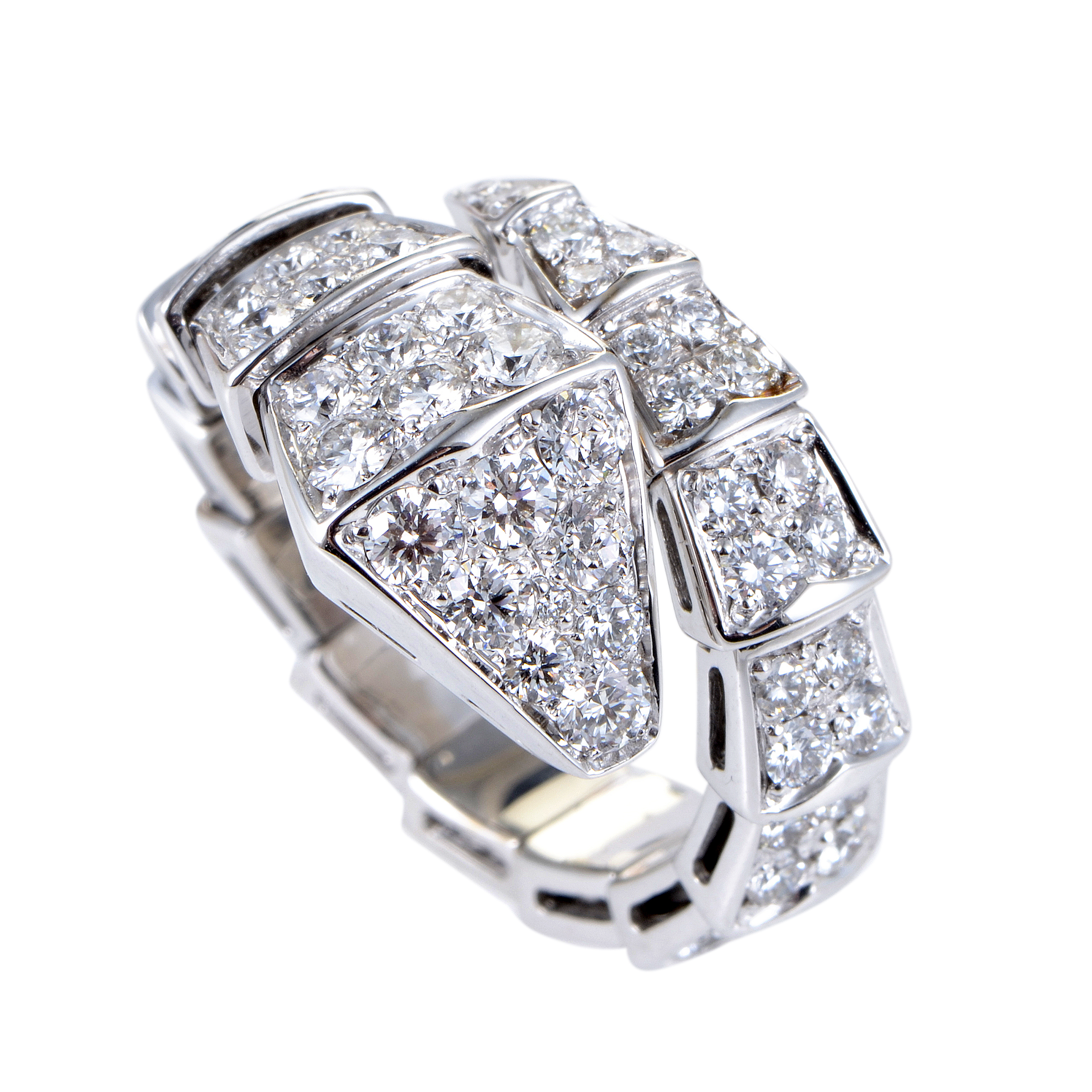 Serpenti Womens 18K White Gold Full Diamond Pave Ring