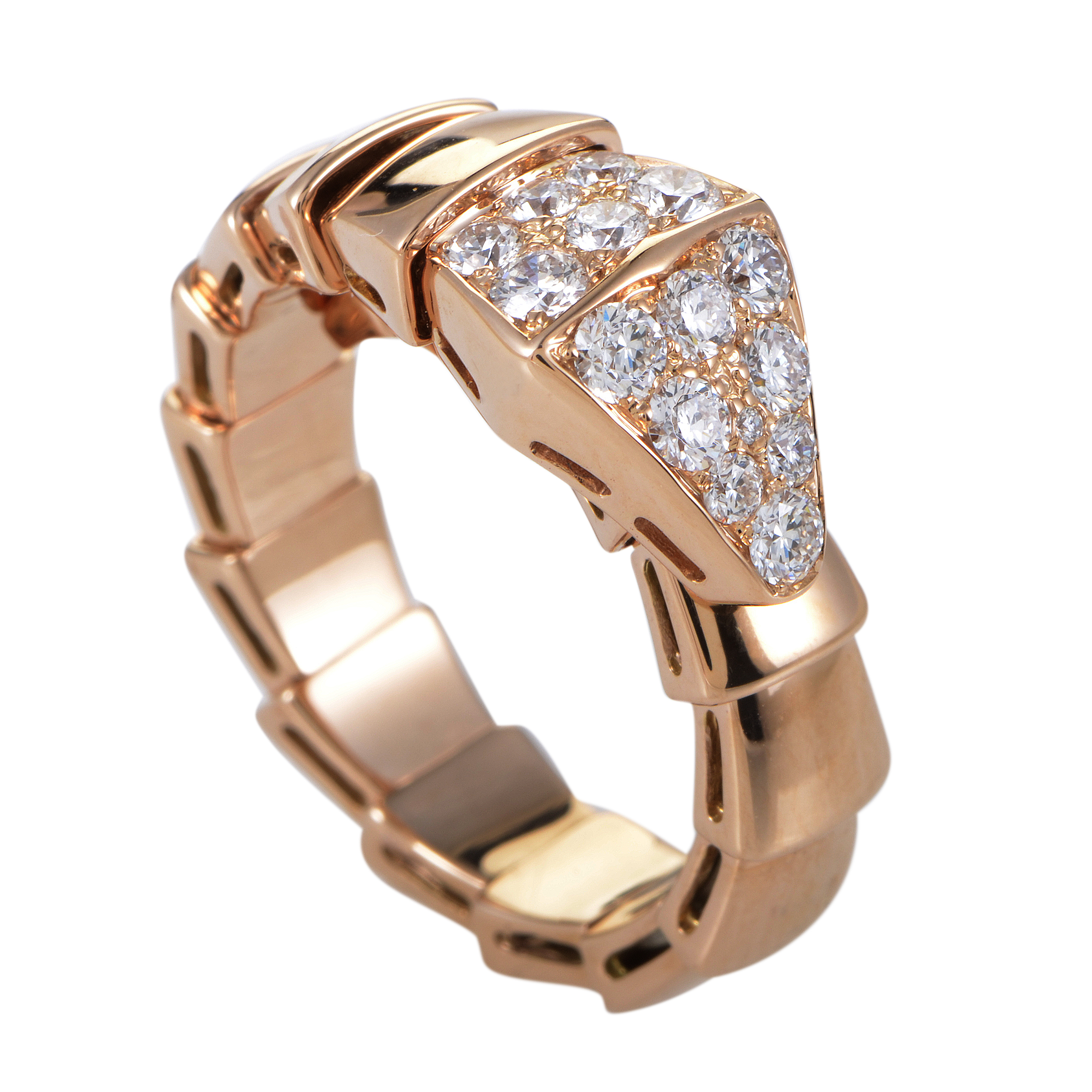 Serpenti Womens 18K Rose Gold Partial Diamond Pave Ring