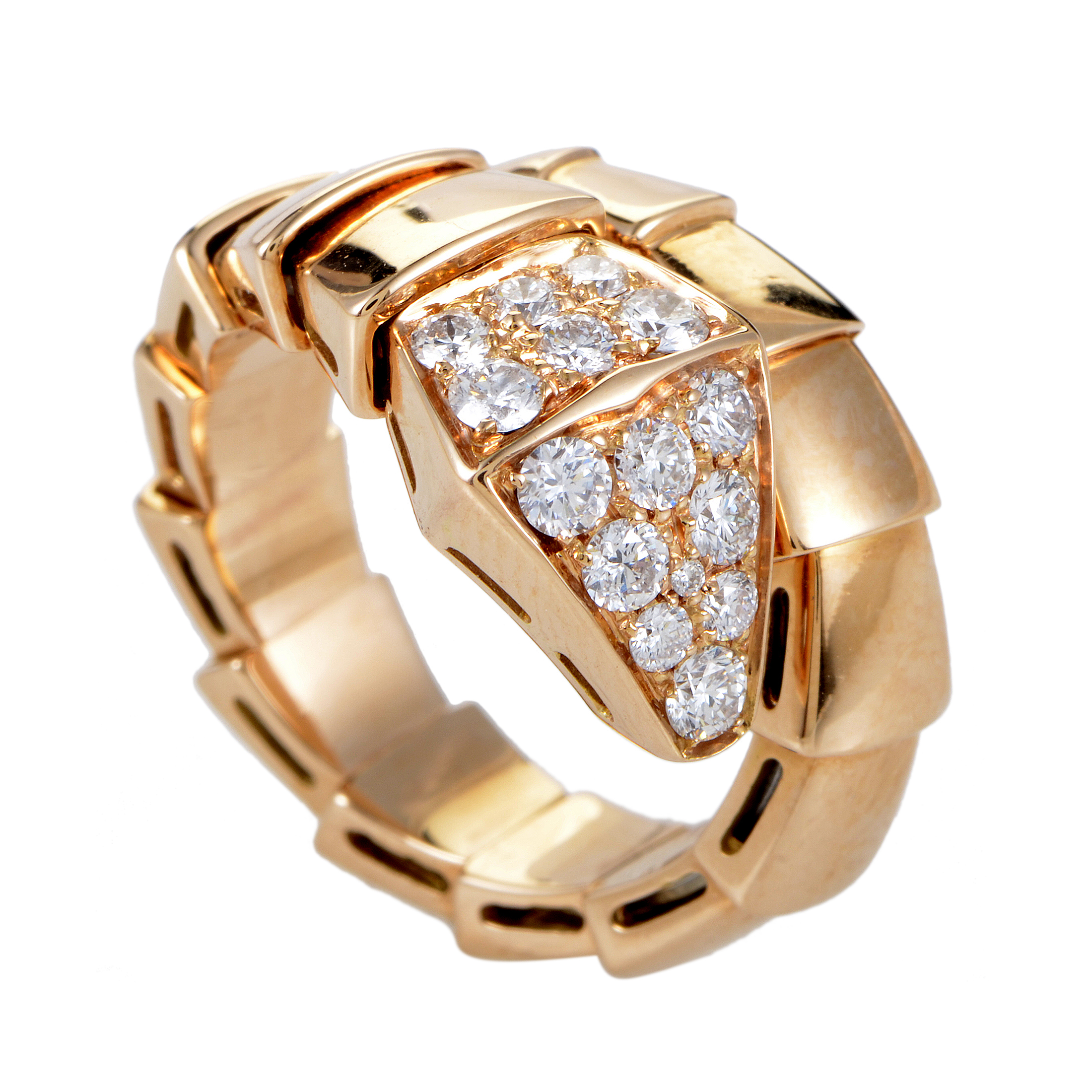 Serpenti Women's 18K Rose Gold Diamond Ring