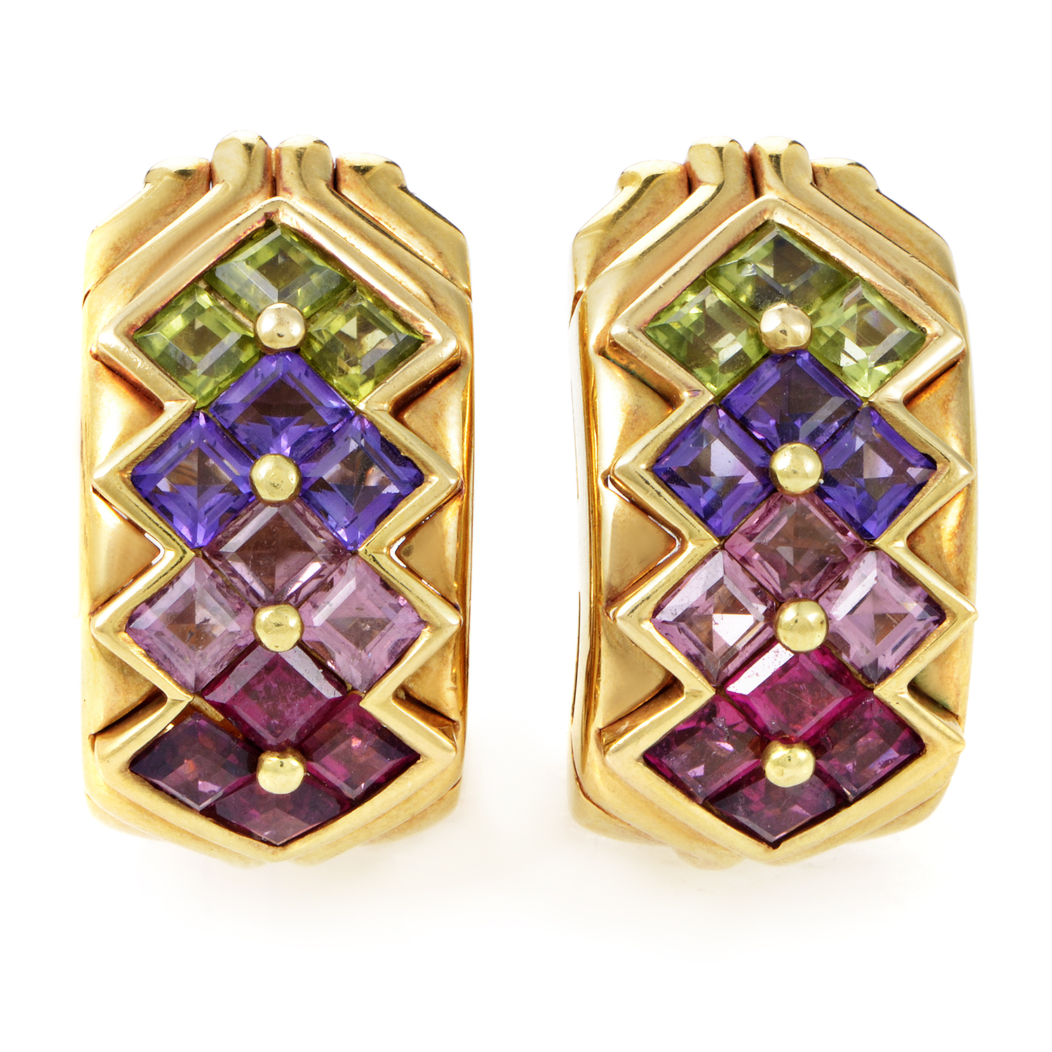 Bvlgari 18K Yellow Gold Multi-Color Stone Clip-On Earrings