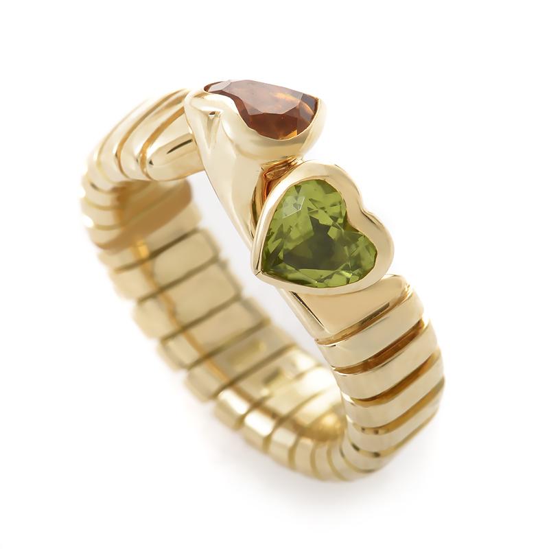 Bvlgari Tubogas 18K Yellow Gold Double Heart Citrine & Peridot Ring