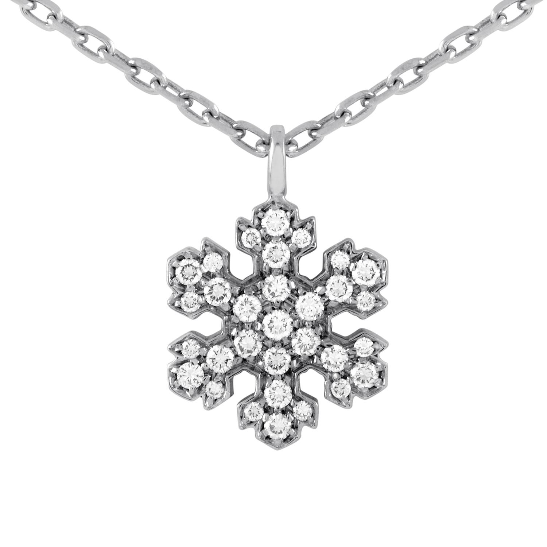 Bvlgari 18K White Gold Diamond Snowflake Pendant Necklace