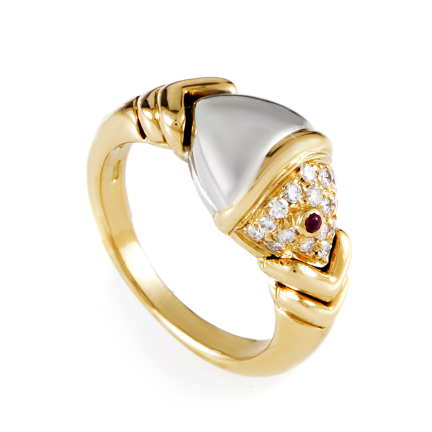 Bvlgari Naturalia 18K Multi-Tone Gold Diamond & Ruby Fish Ring