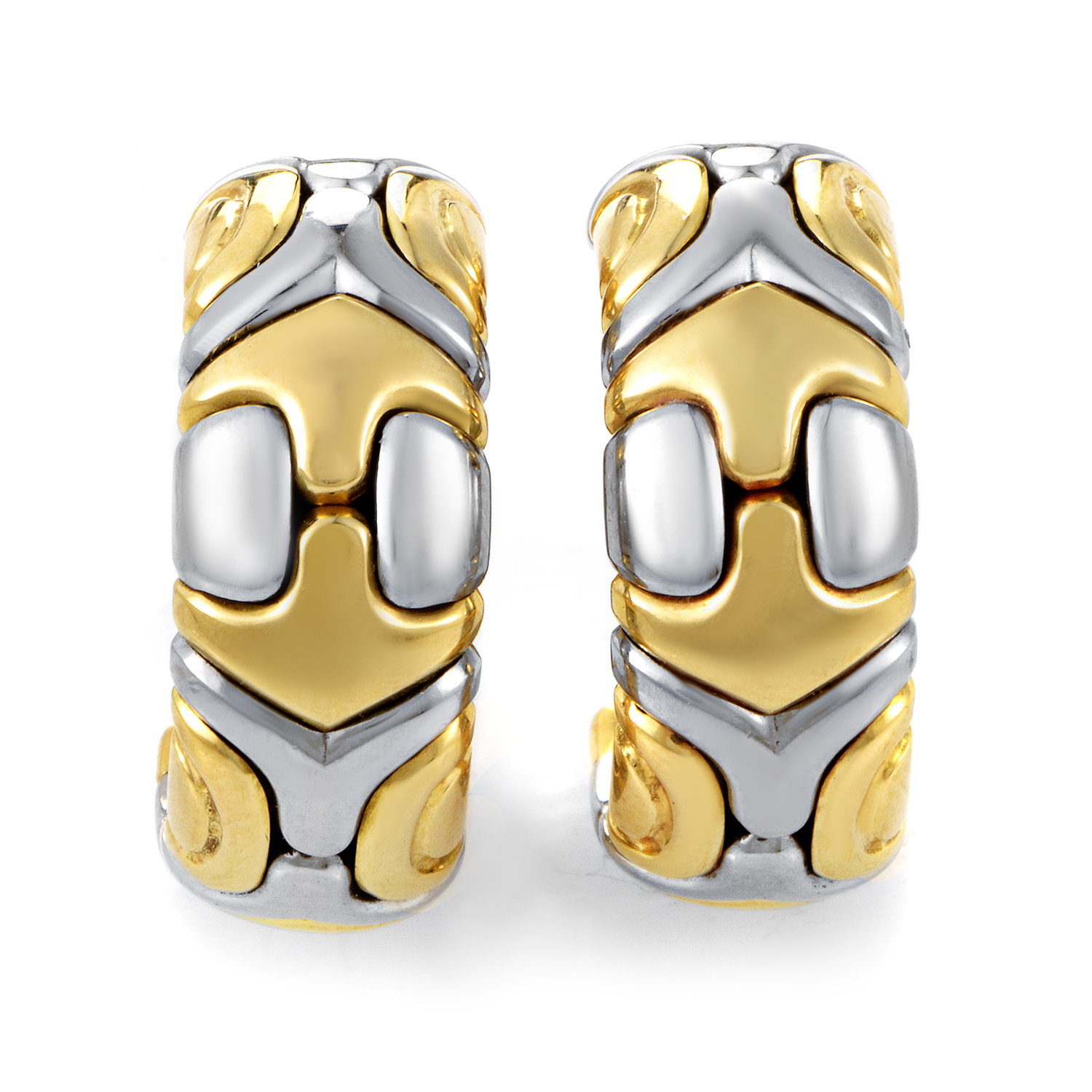 Bvlgari Alveare Women's 18K Yellow Gold & Stainless Steel Huggie Earrings