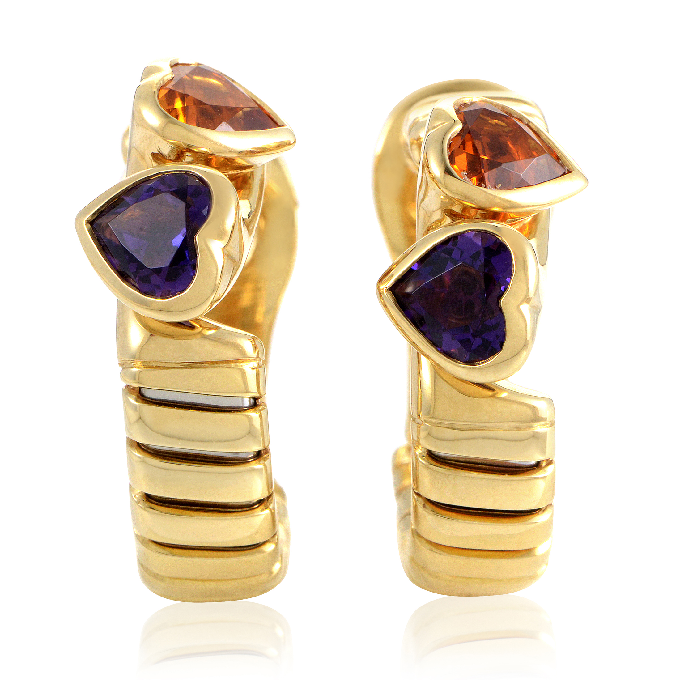 Bvlgari Tubogas Women's 18K Yellow Gold Amethyst & Citrine Heart Earrings