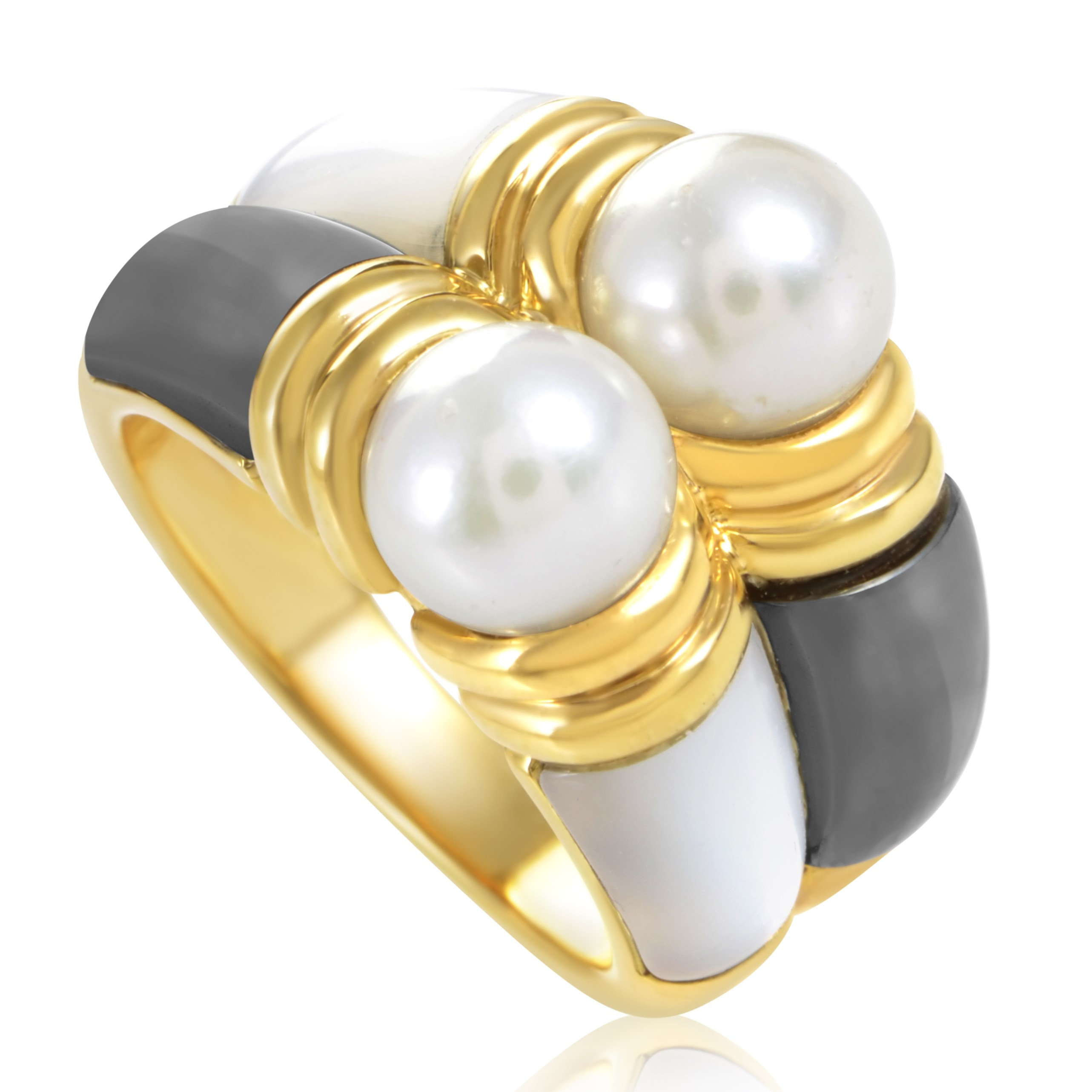 Bvlgari Women's 18K Yellow Gold Pearl, Mother Of Pearl and Hematite Ring AK1B3734