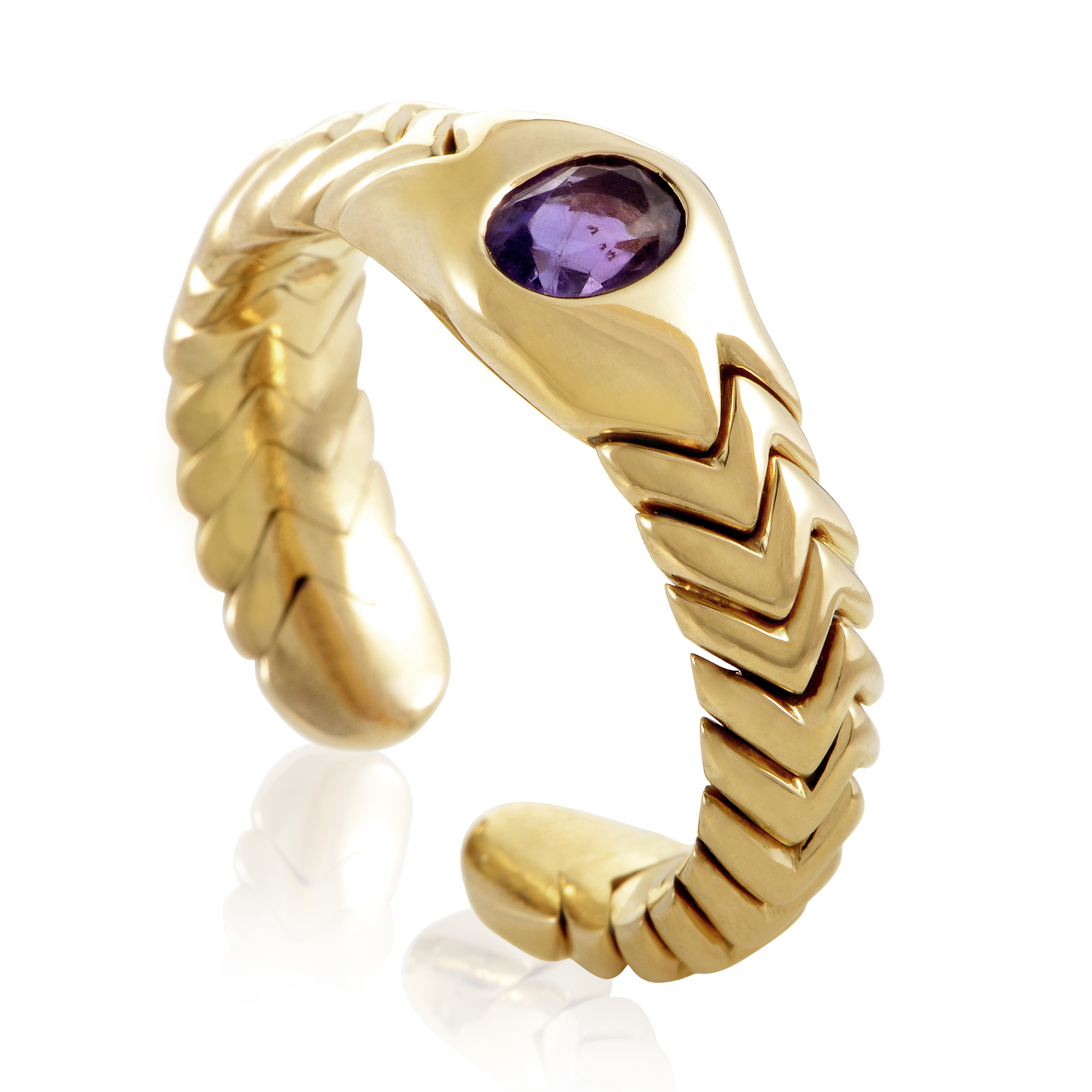 Bvlgari Spiga Women's 18K Yellow Gold Amethyst Band Ring