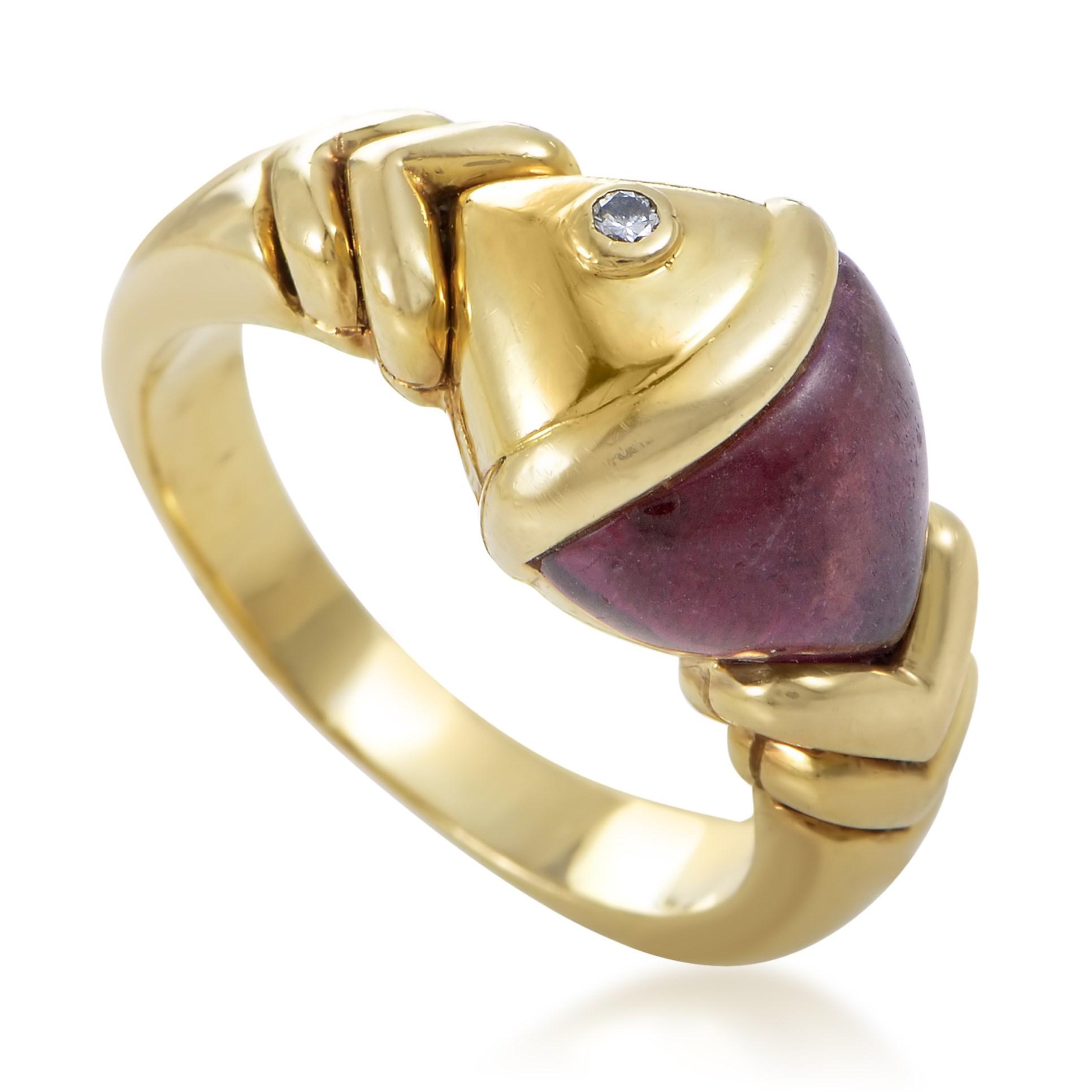 Bvlgari Naturalia Women's 18K Yellow Gold Diamond & Pink Tourmaline Naturalia Fish Ring
