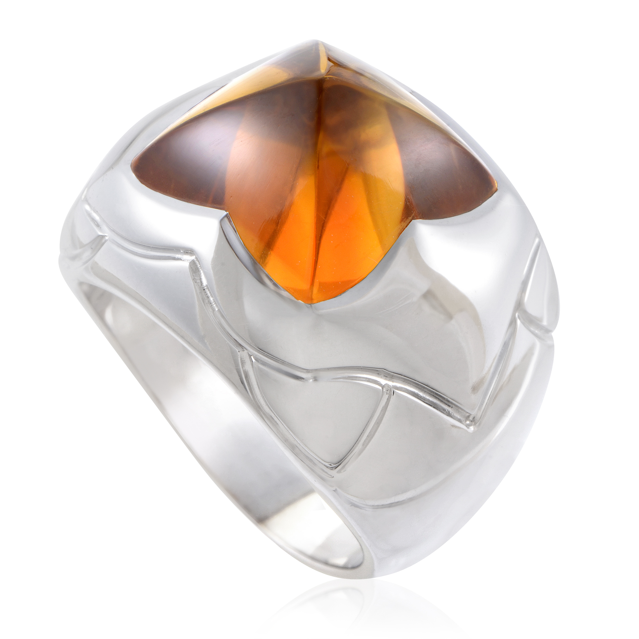 Bvlgari Piramide Women's 18K White Gold Citrine Ring