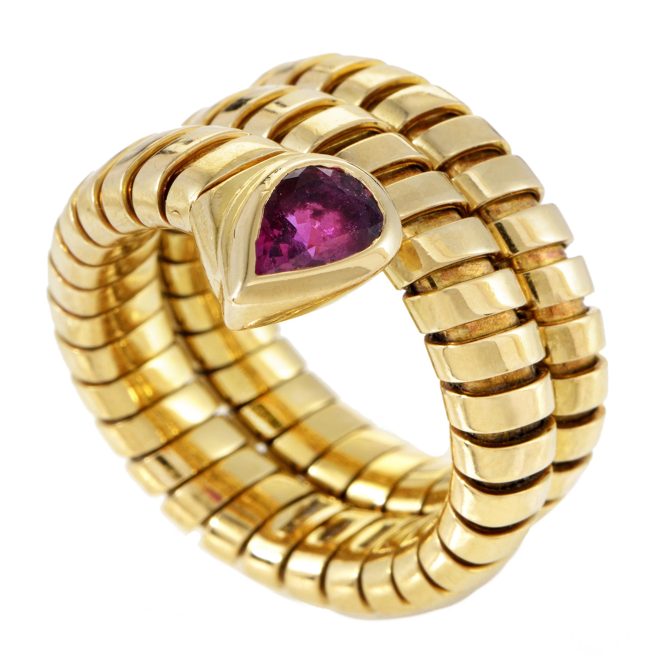 Bvlgari Tubogas Women's 18K Yellow Gold Ruby Snake Ring