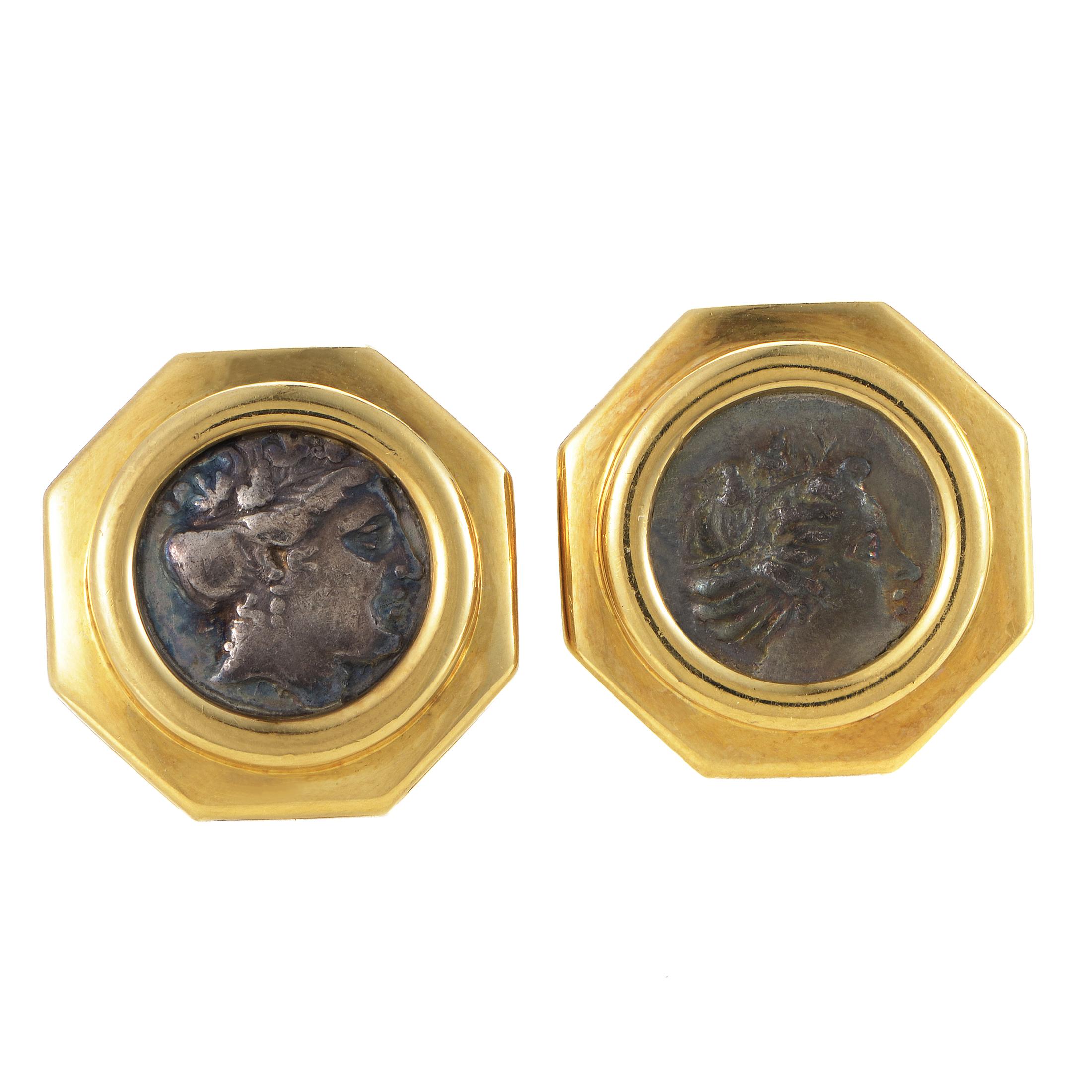 Bvlgari Monete Men's 18K Yellow Gold Ancient Coin Cufflinks