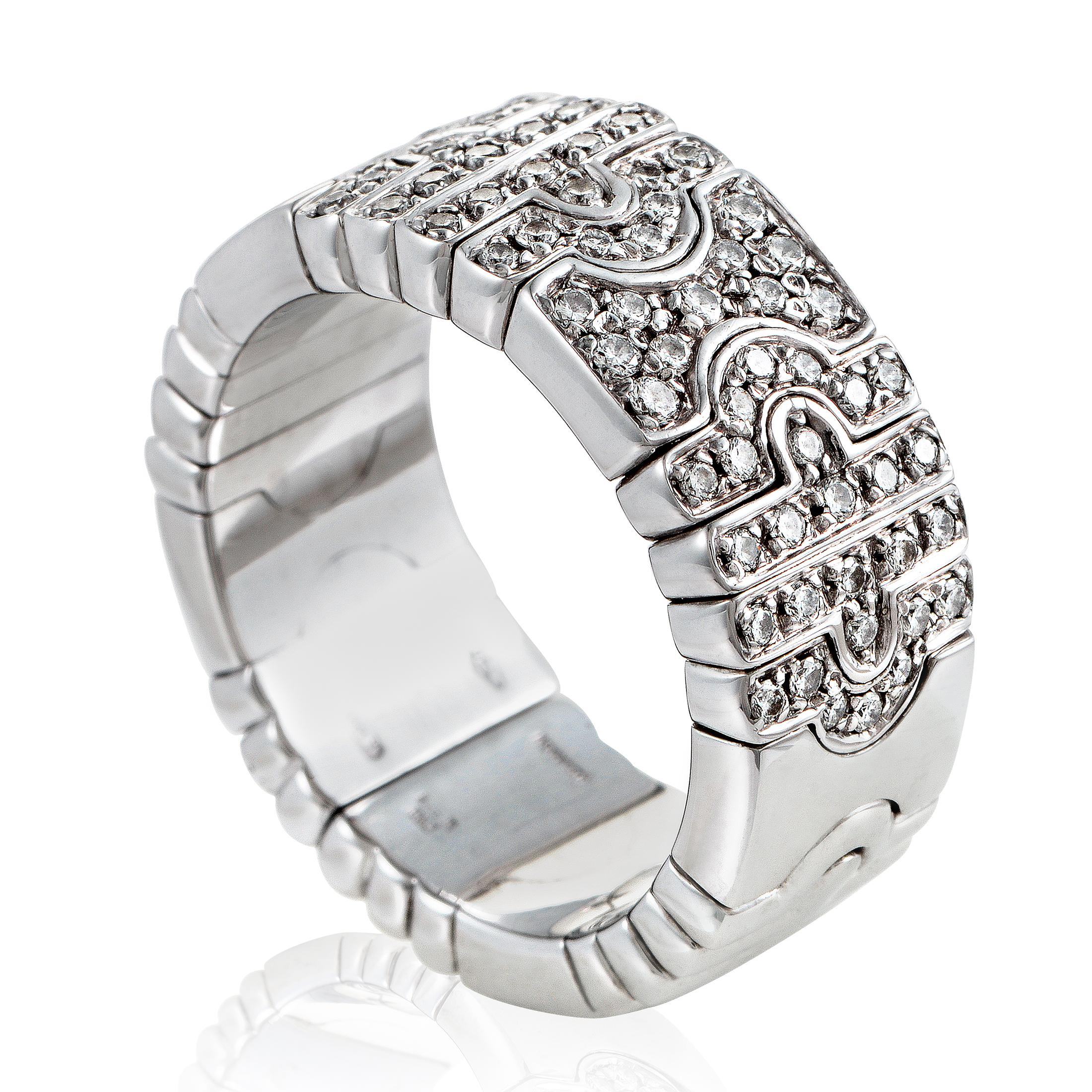 Bvlgari Parentesi Women's 18K White Gold Partial Diamond Pave Band Ring