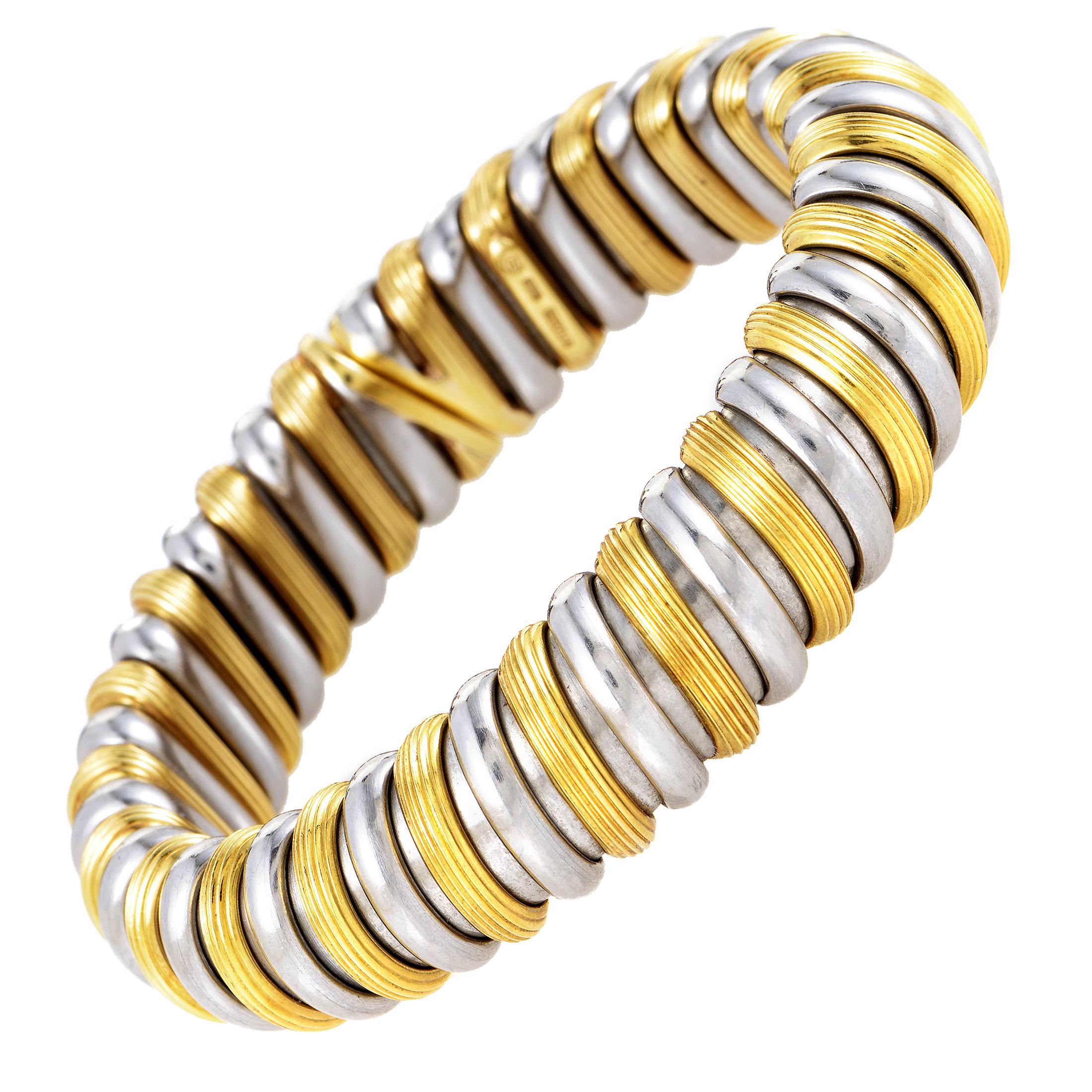 Bvlgari Women's 18K Yellow Gold & Stainless Steel Bangle Bracelet