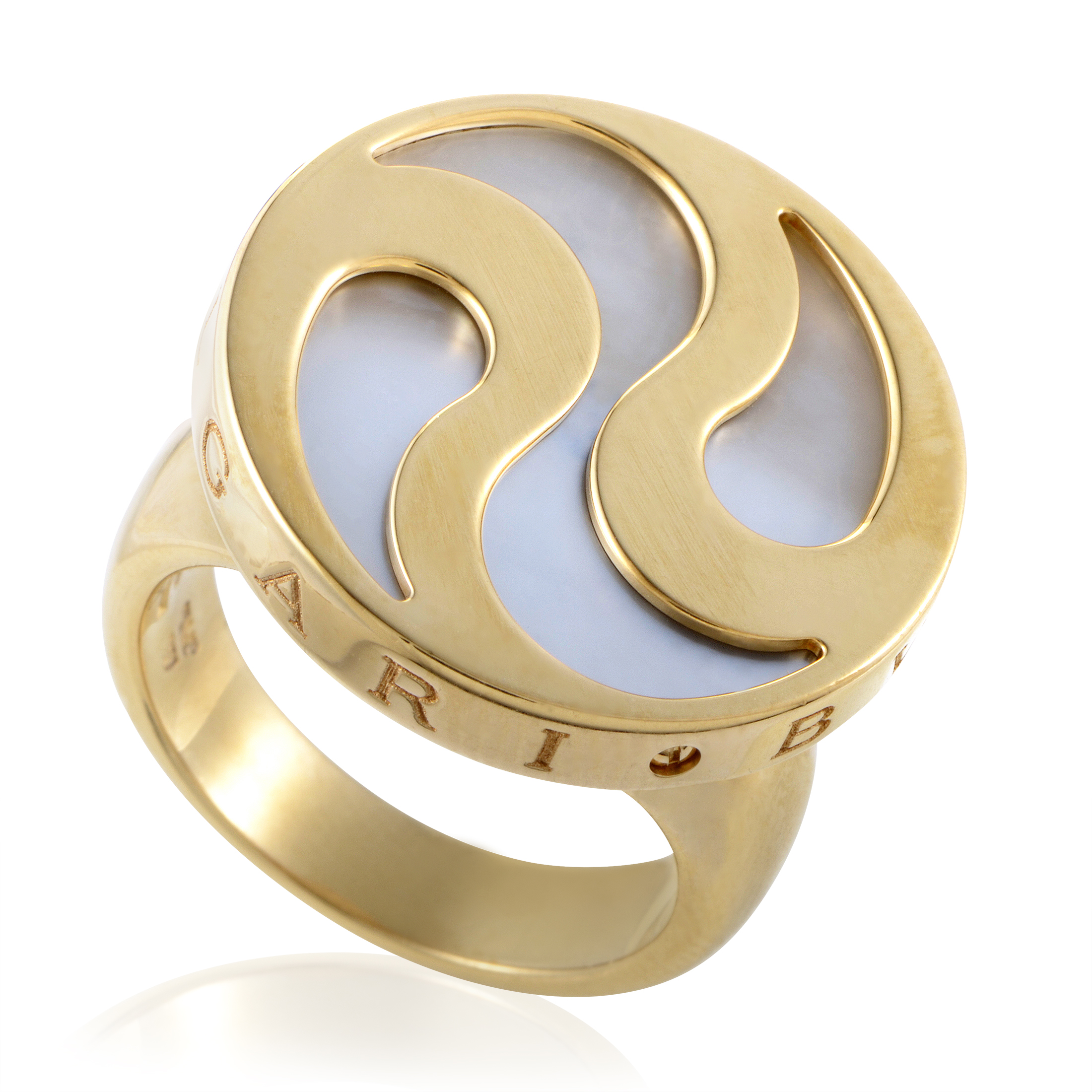 Bvlgari Hypnotic Women's 18K Yellow Gold Mother of Pearl Ring