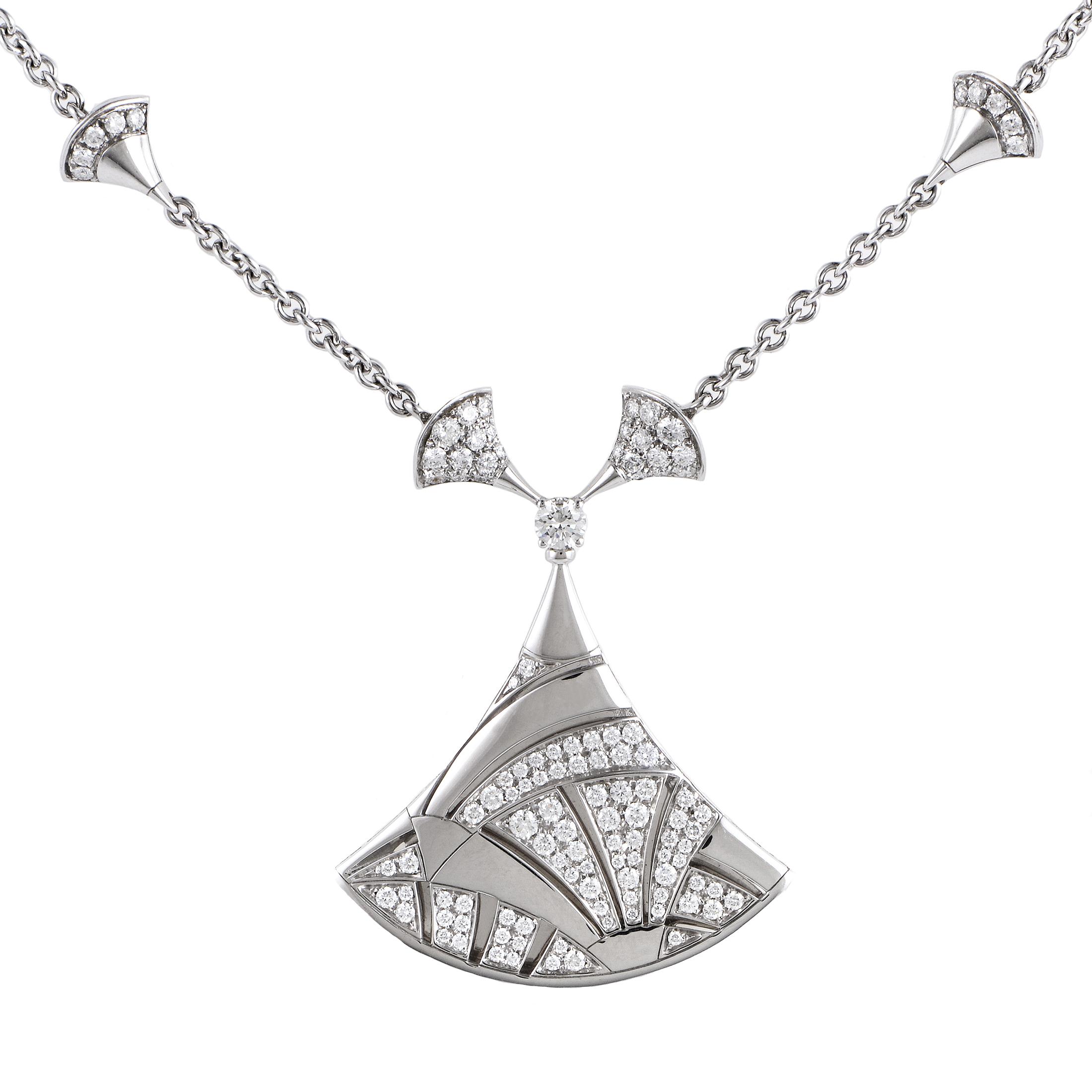 Bvlgari Diva's Dream 18K White Gold Diamond Pendant Necklace