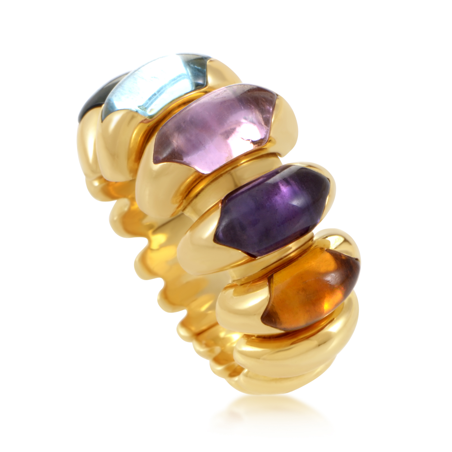 Bvlgari Celtica 18K Yellow Gold Multi-Gem Band Ring