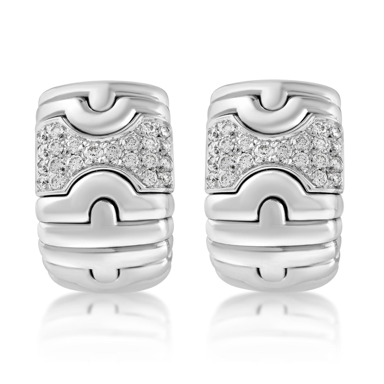 Bvlgari Parentesi 18K White Gold Diamond Huggies Clip-on Earrings AK1B2273