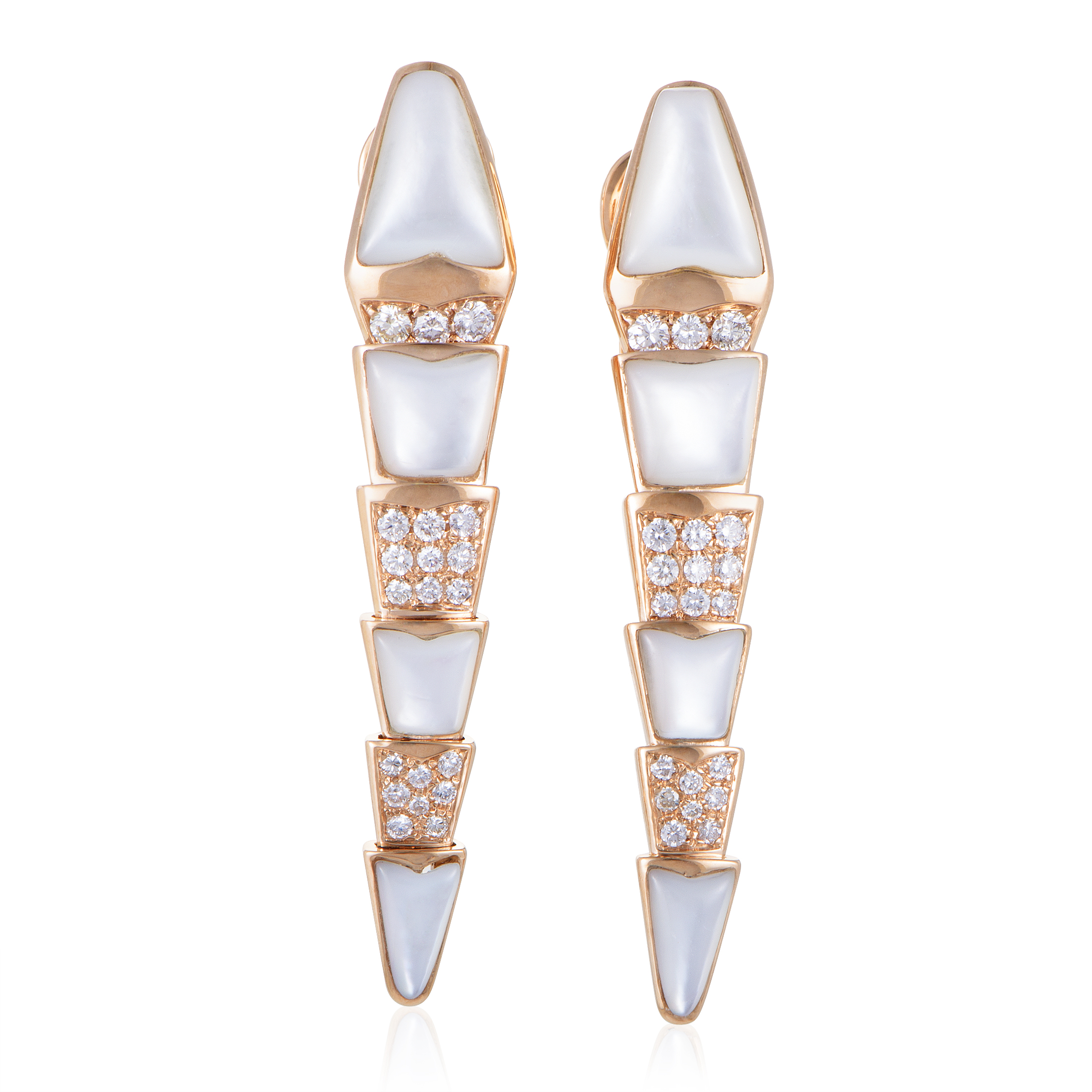 Serpenti Womens 18K Rose Gold Mother of Pearl Diamond Pave Earrings