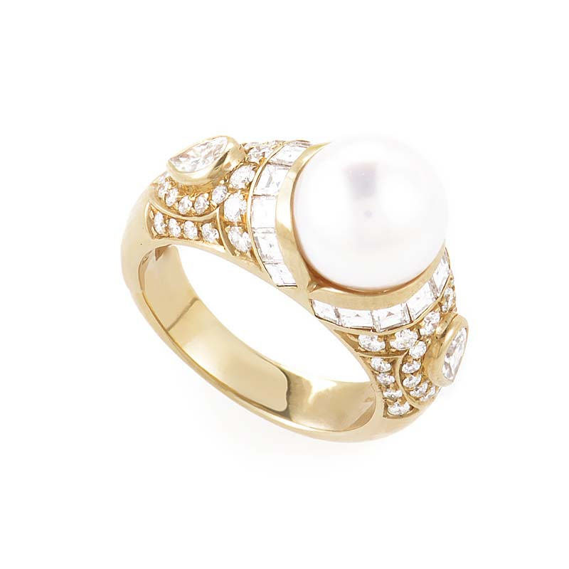 Women's 18K Yellow Gold Diamond & Pearl Ring