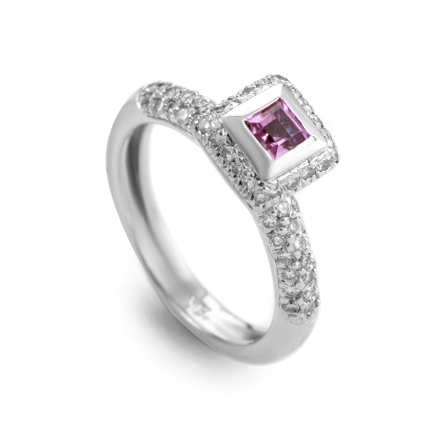 18K White Gold Pink Sapphire and Diamond Ring