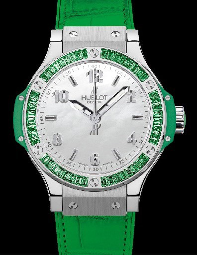 Big Bang 38mm Steel Tutti Frutti Apple (SS-WG-Green Tsavorite Baguettes/ White MOP / Green Rubber-Alligator Strap)