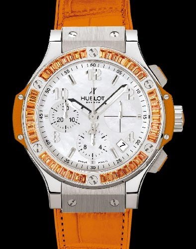 Big Bang 41mm Steel Tutti Frutti Orange (SS-WG-Orange Sapphire Baguettes / White MOP / Orange Rubber-Alligator Strap)