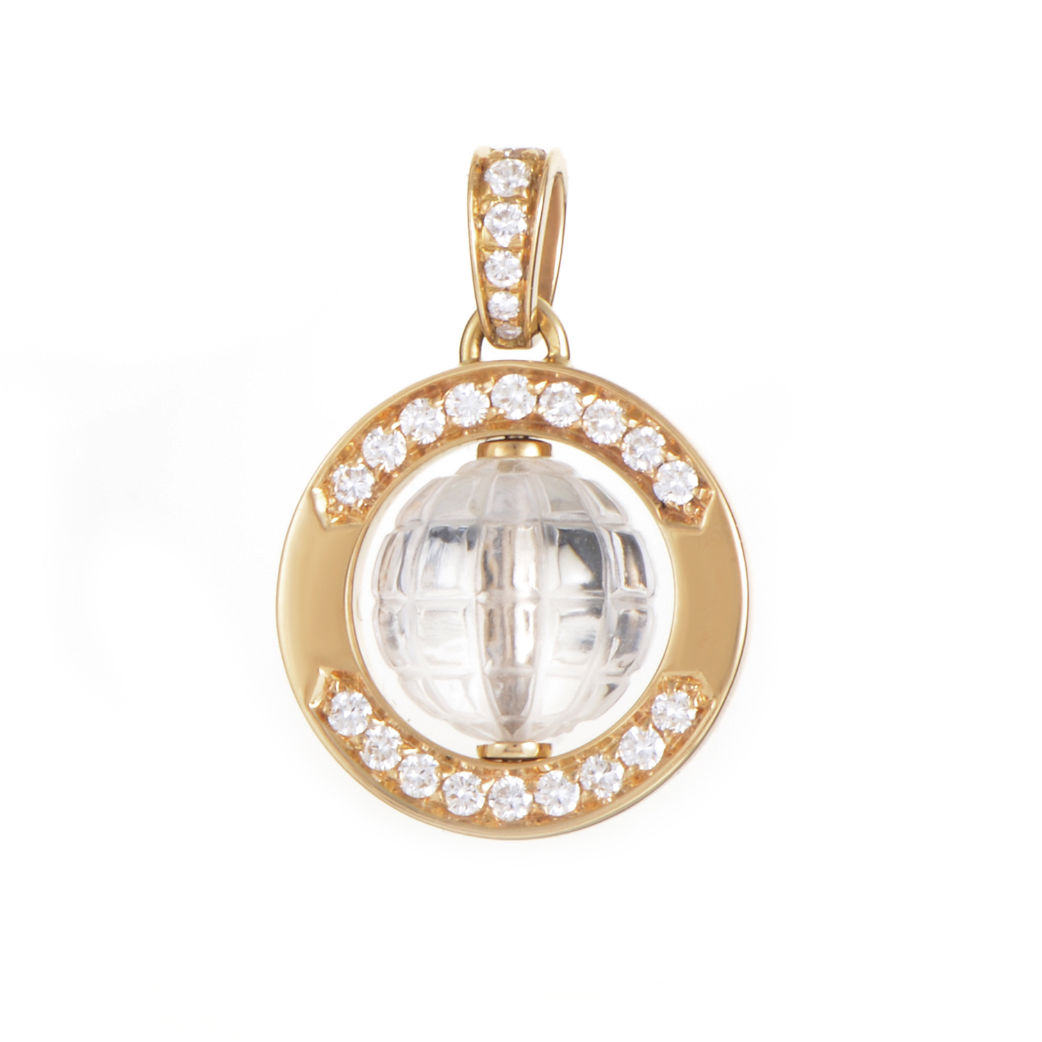 Boucheron 18K Yellow Gold Crystal & Diamond Pendant