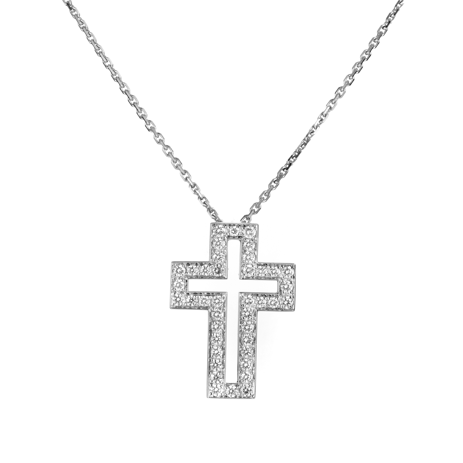 boucheron 18k white gold diamond cross pendant necklace. Black Bedroom Furniture Sets. Home Design Ideas
