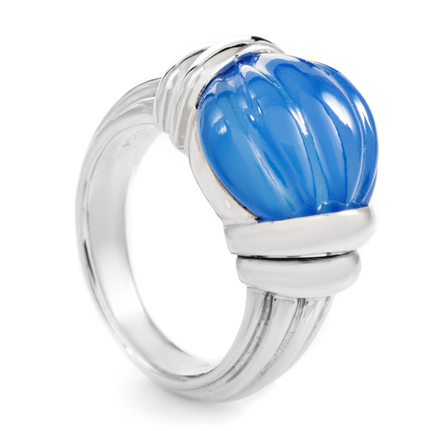 Boucheron Women's 18K White Gold Carved Blue Jade Ring