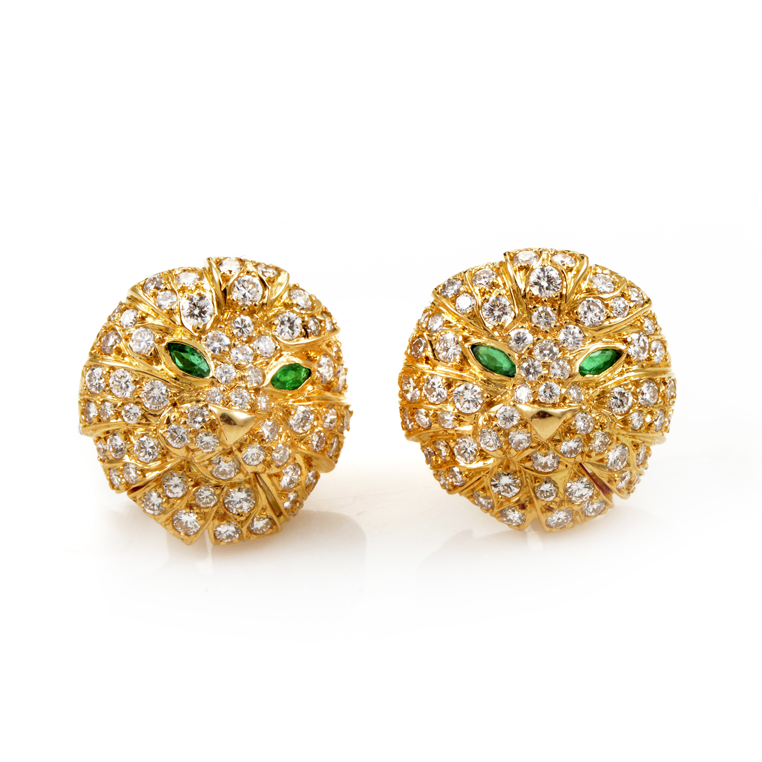 Boucheron 18K Yellow Gold Diamond Pave and Emerald Lion Clip-On Earrings